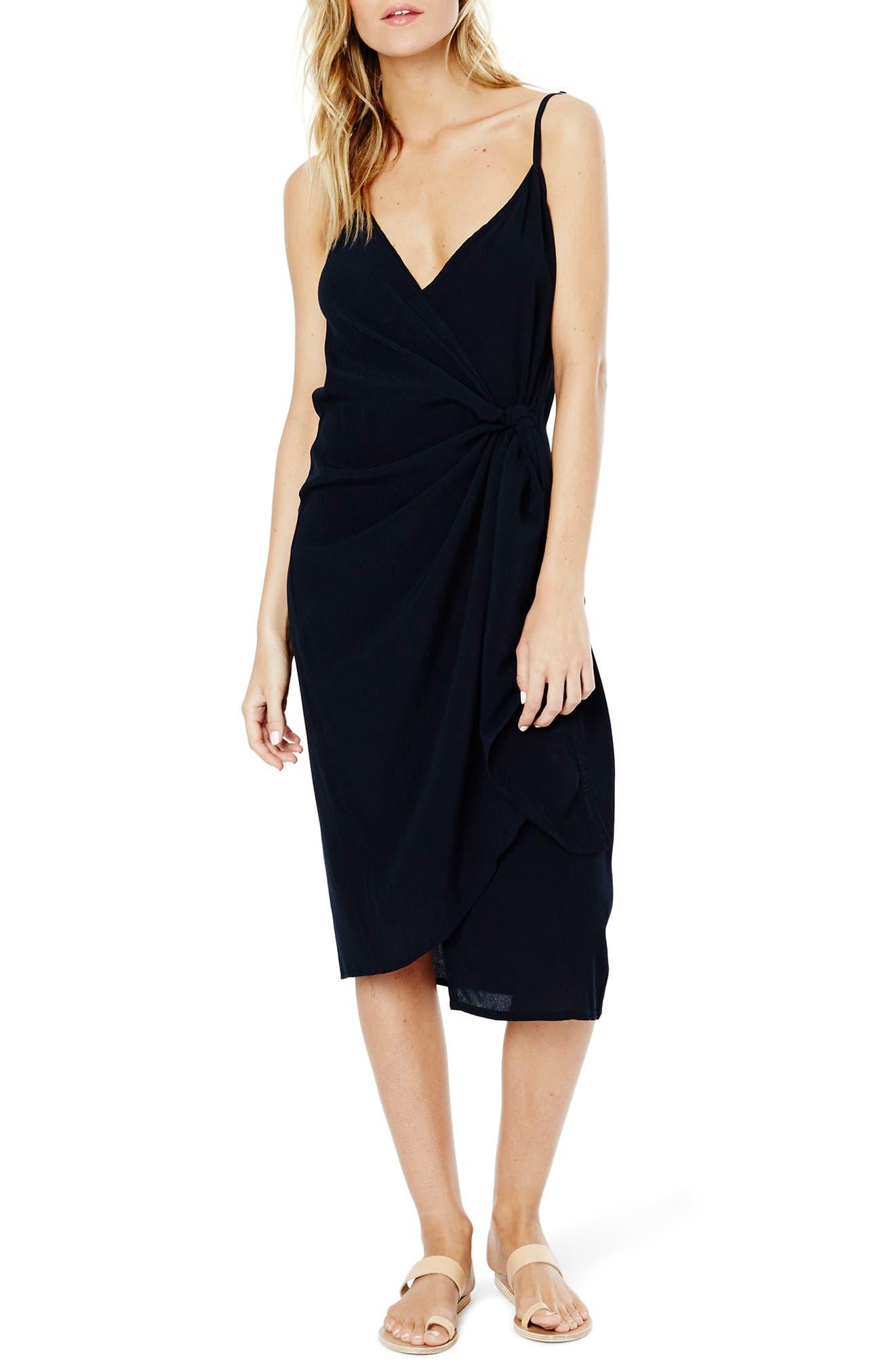 Juel Side Tie Midi Dress,                             Alternate thumbnail 5, color,                             400