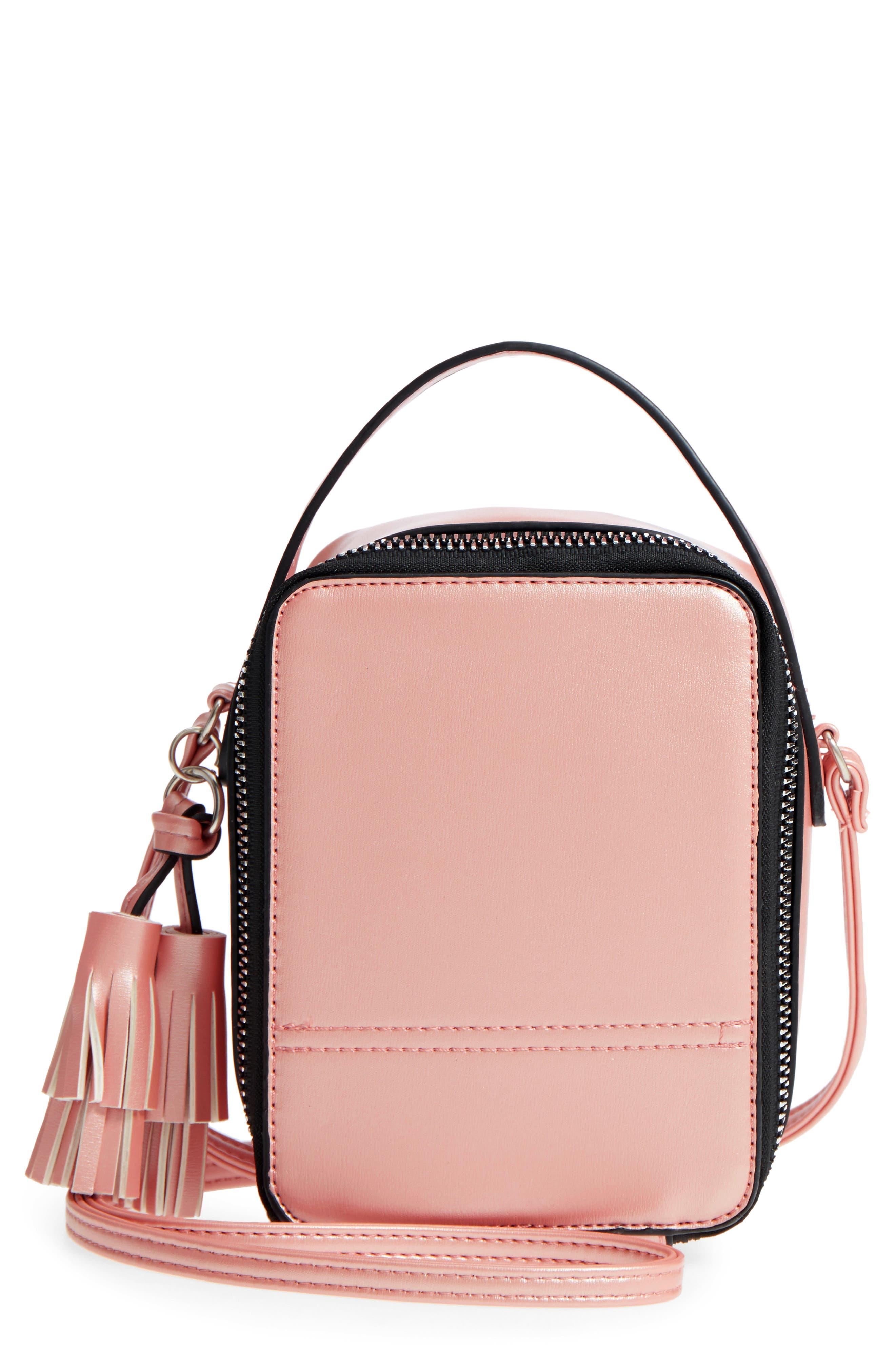 Tassel Metallic Faux Leather Box Bag,                             Main thumbnail 1, color,                             710