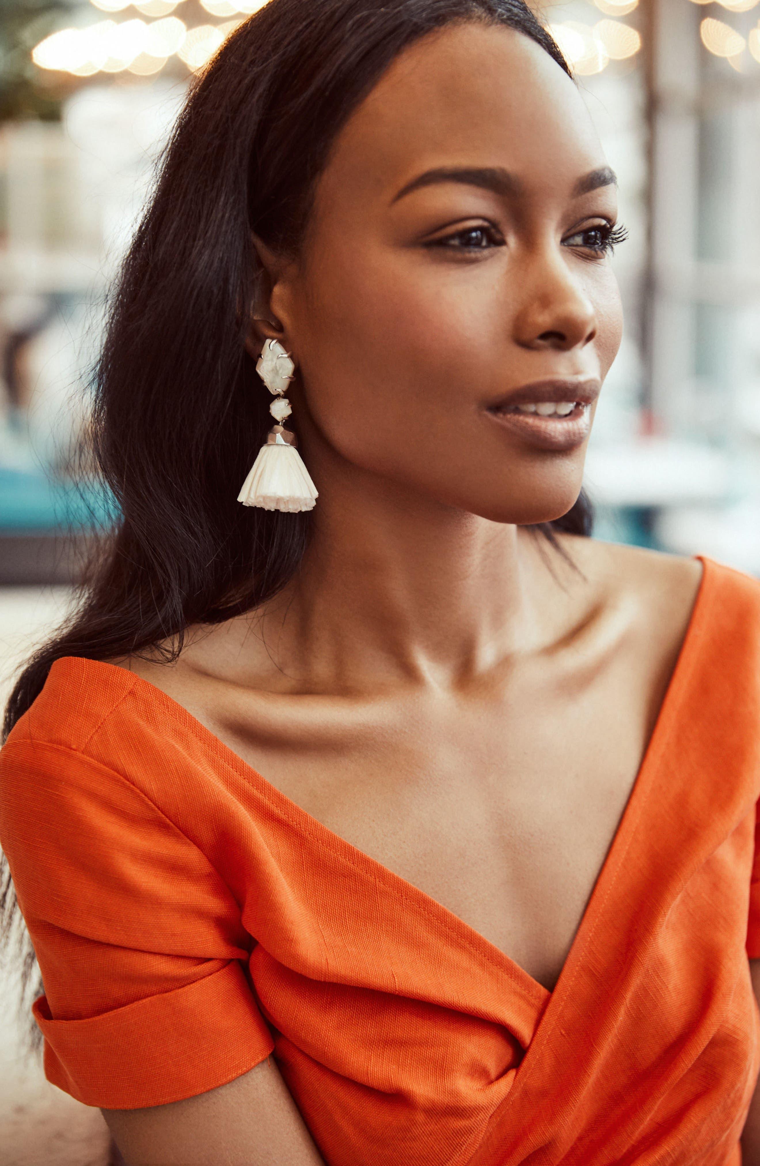 Denise 3-in-1 Tassel Earrings,                             Alternate thumbnail 4, color,                             100