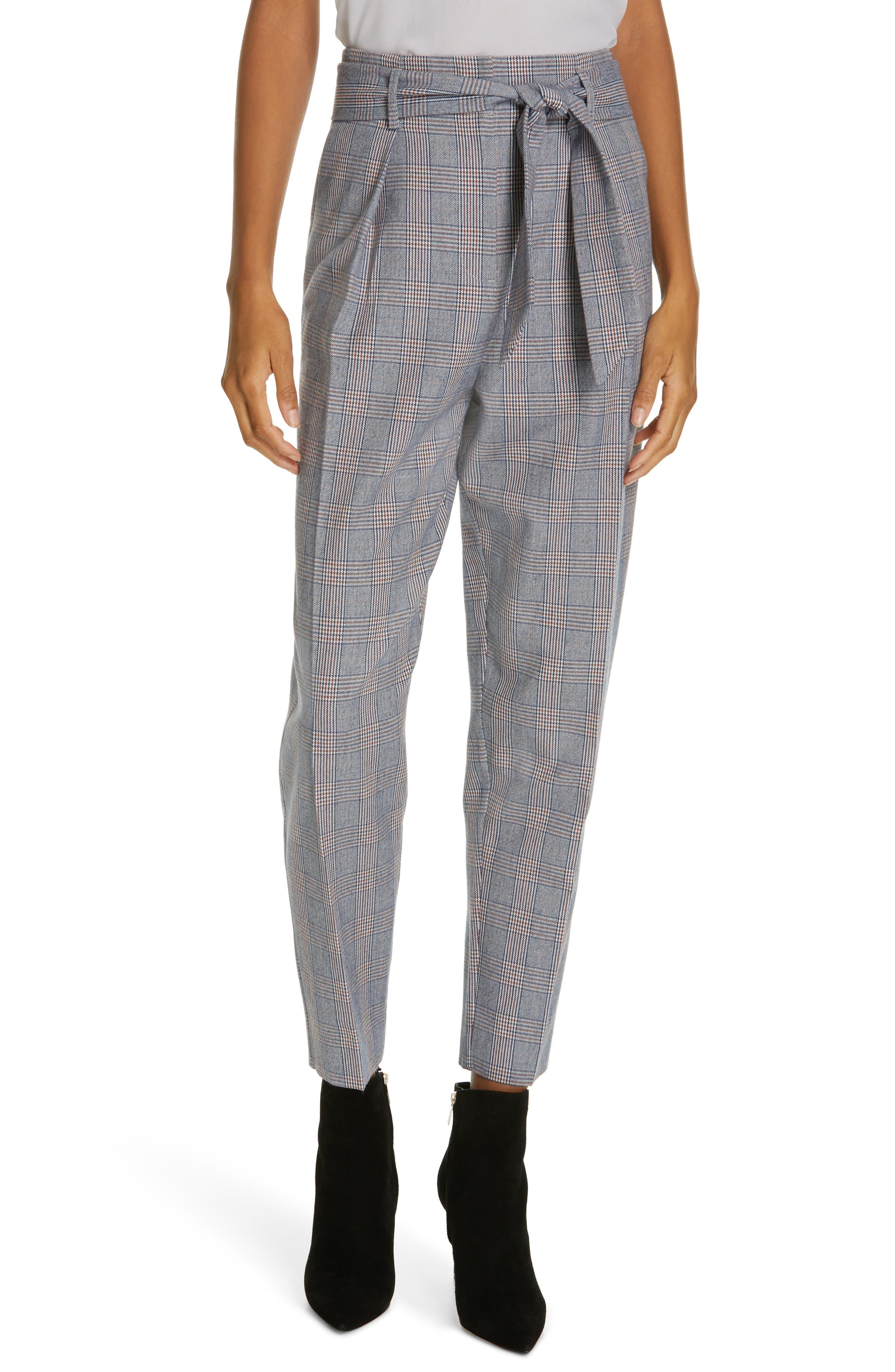 Marcelle Plaid Cotton & Wool Tie Waist Trousers, Main, color, BLUE MULTI