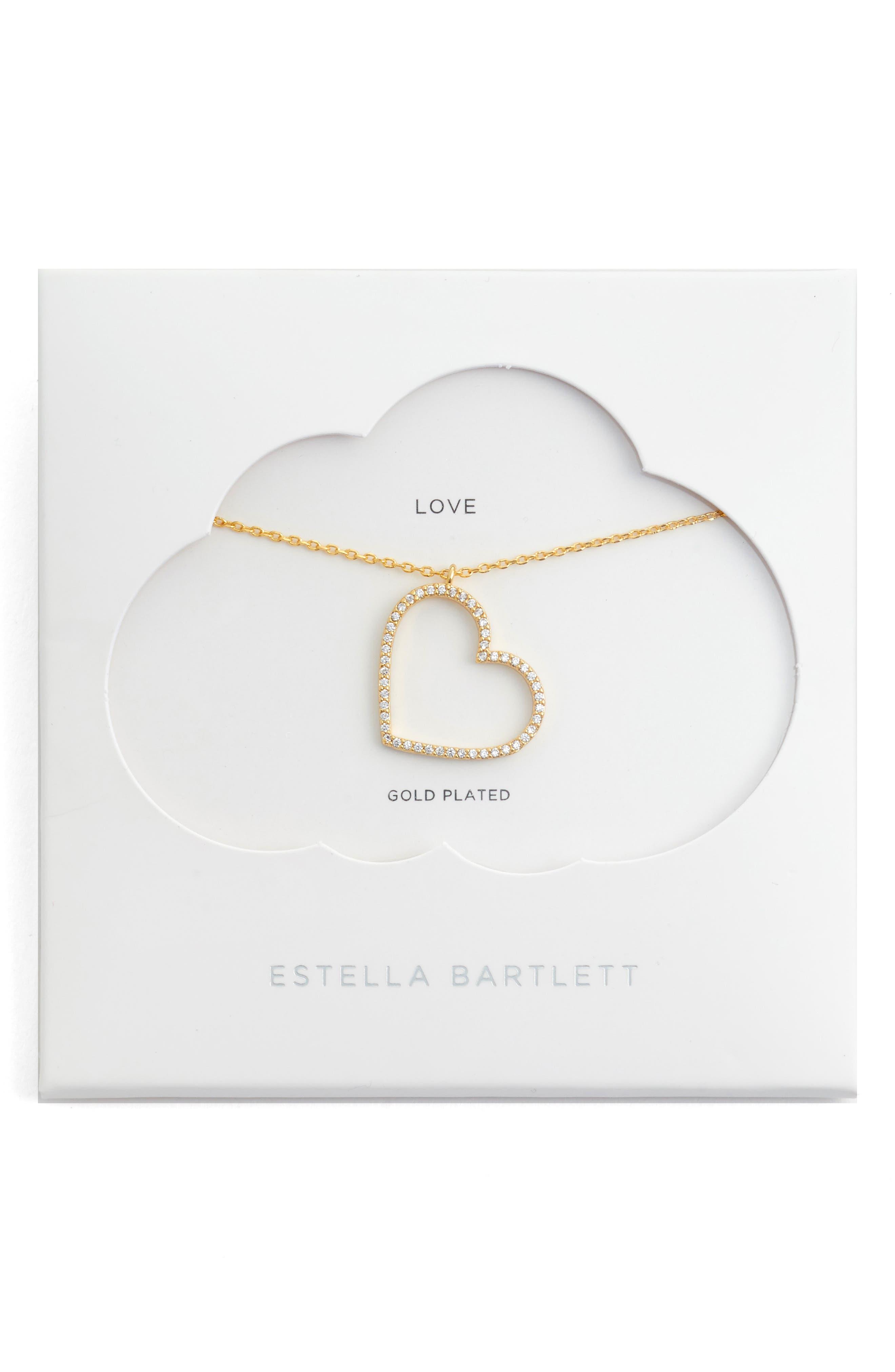 Cubic Zirconia Heart Necklace,                             Main thumbnail 1, color,                             GOLD
