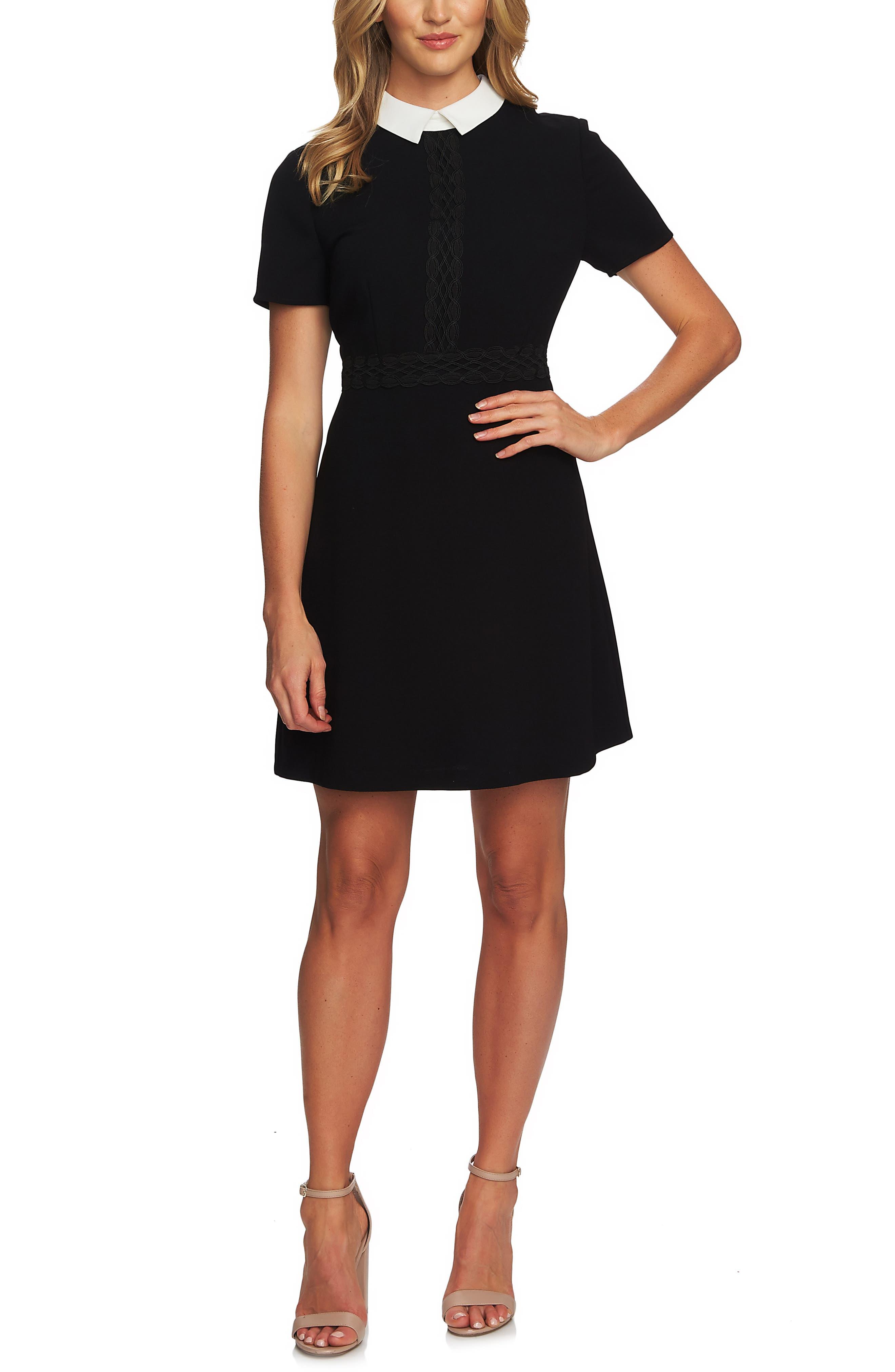 CECE,                             Collared A-Line Dress,                             Main thumbnail 1, color,                             RICH BLACK