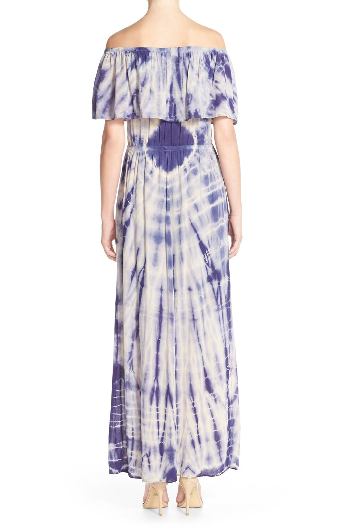 Tie Dye Off Shoulder Maxi Dress,                             Alternate thumbnail 6, color,