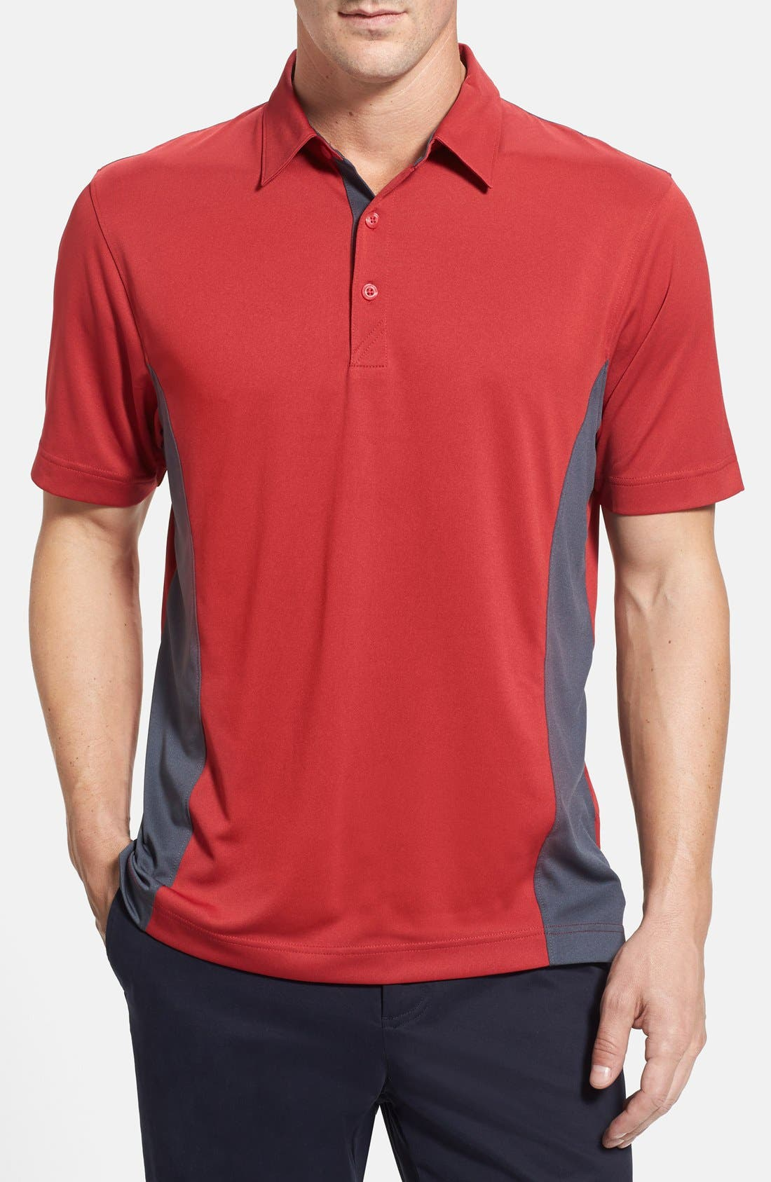 'Willows' Colorblock DryTec Polo,                         Main,                         color, CARDINAL RED/ ONYX