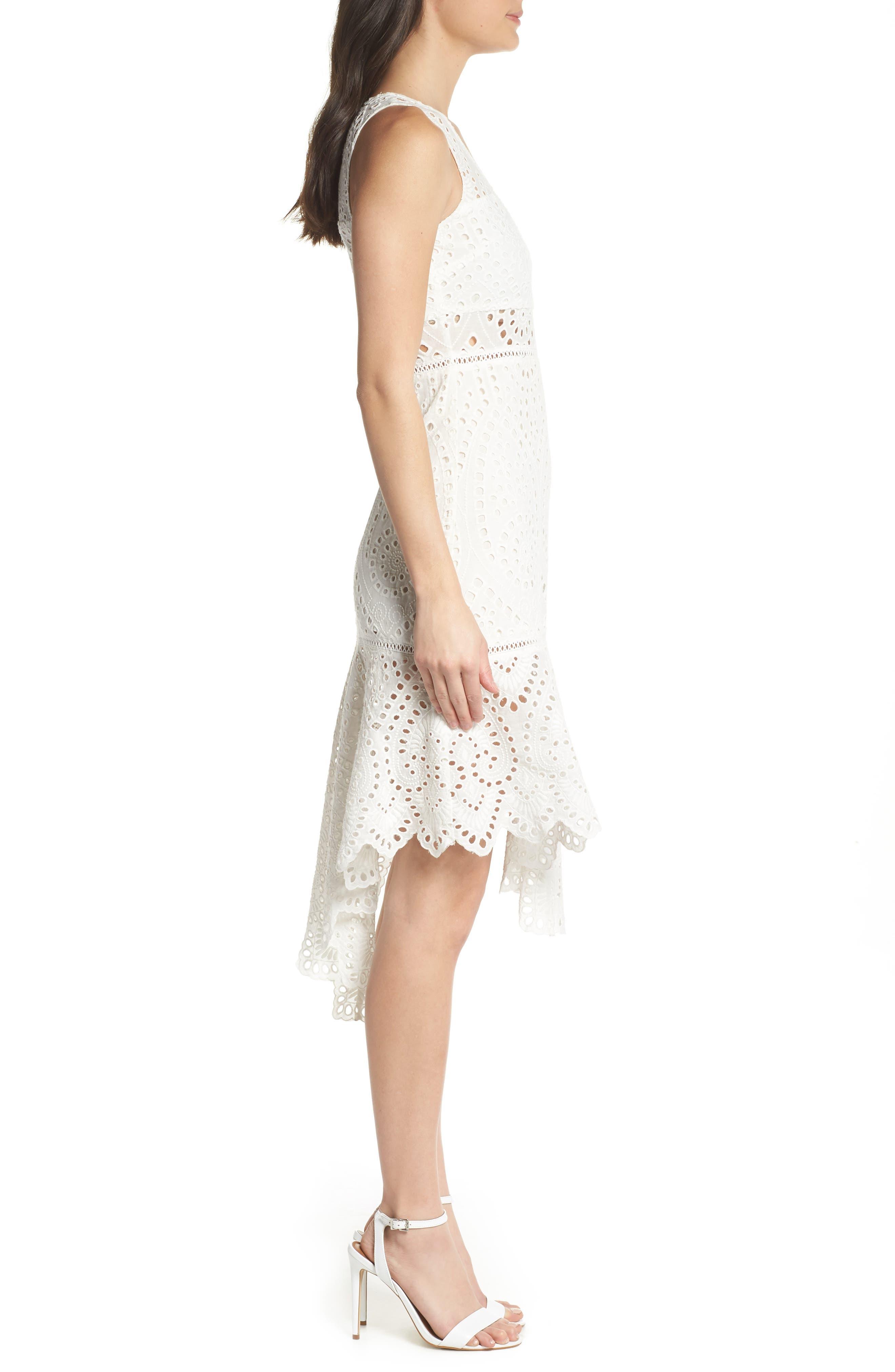 Asymmetric Hem Eyelet Dress,                             Alternate thumbnail 3, color,                             100