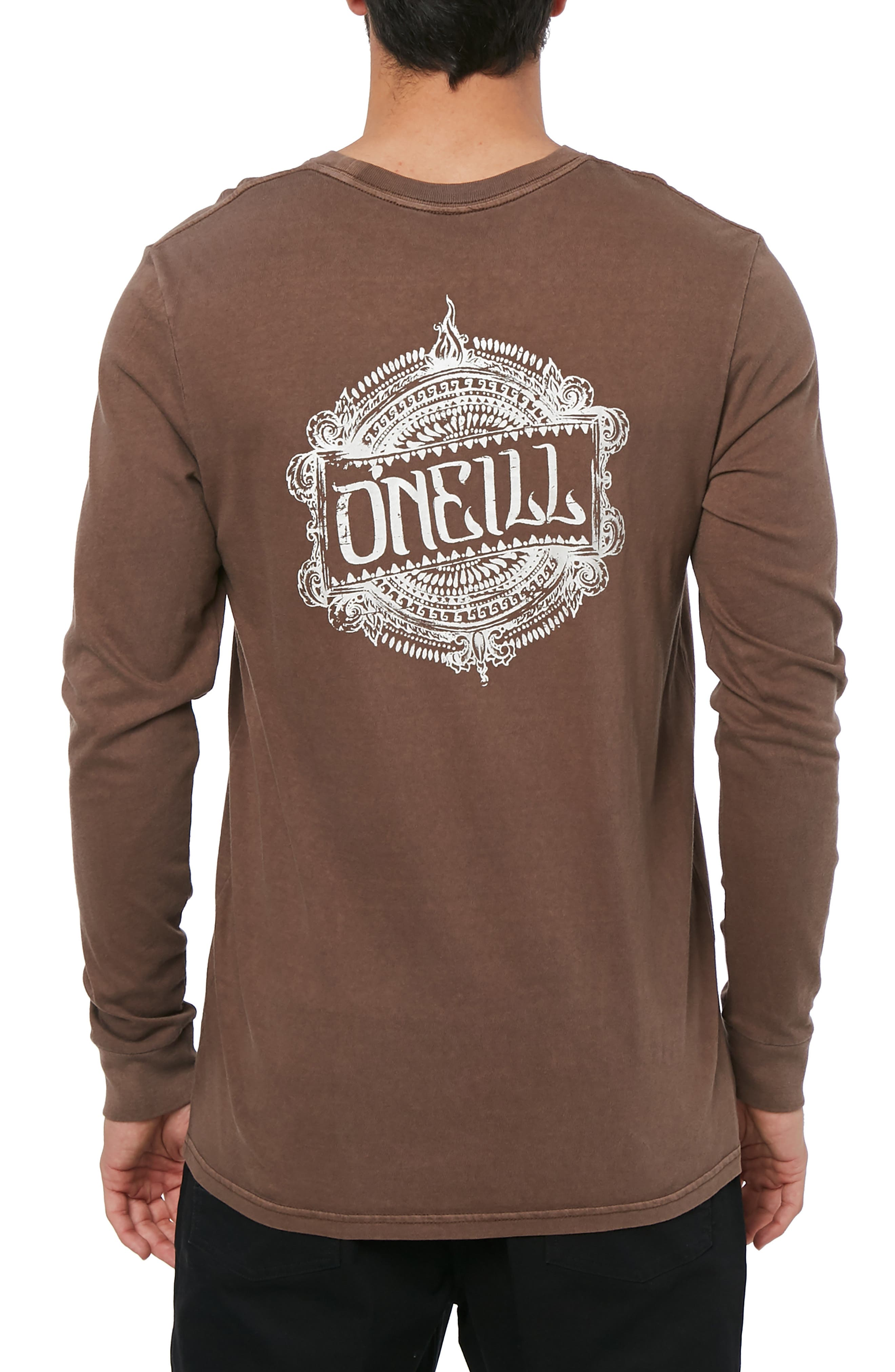 Bali Graphic Long Sleeve T-Shirt,                             Alternate thumbnail 2, color,                             COFFEE