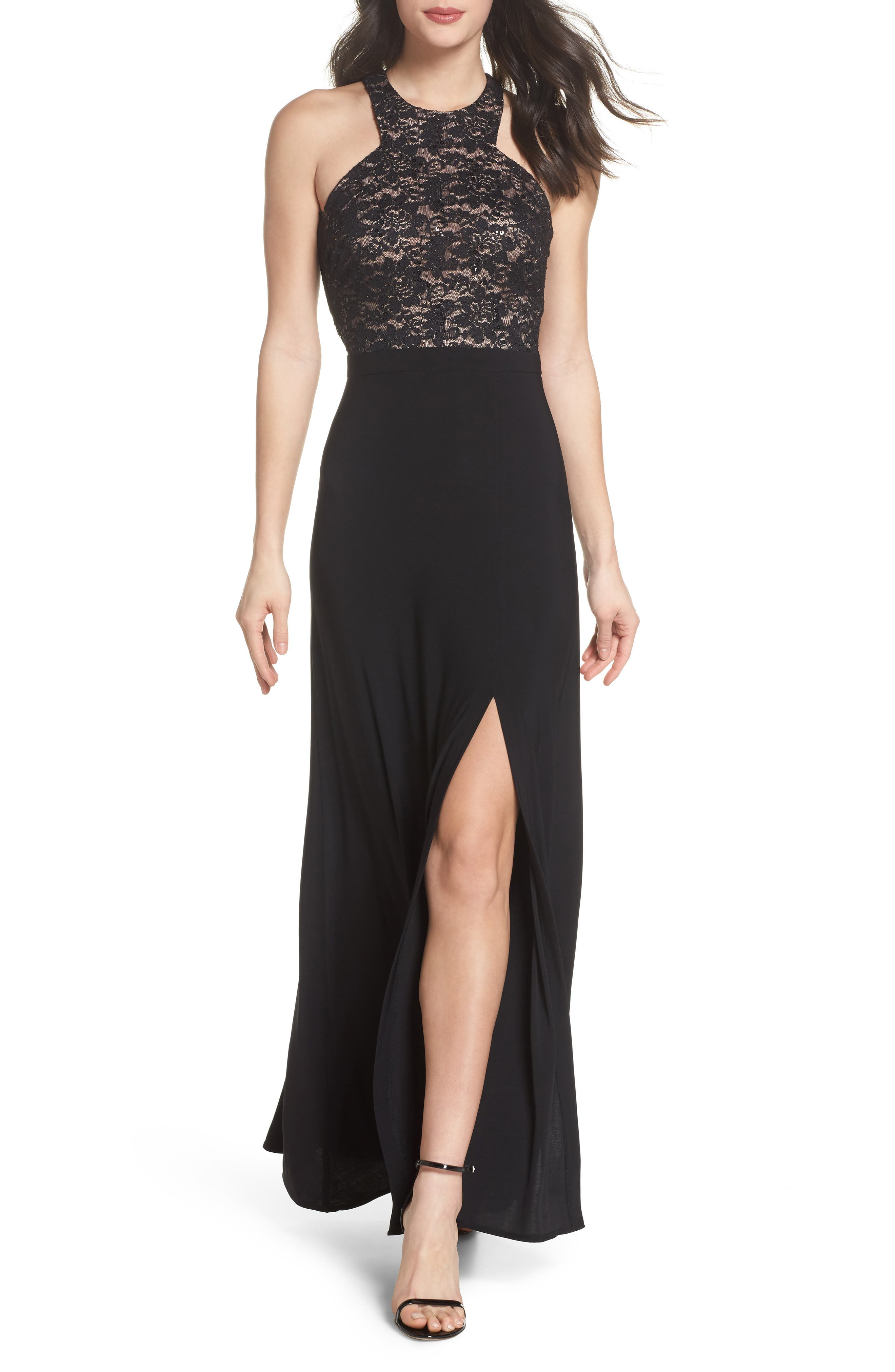 Lace Bodice Strappy Gown,                         Main,                         color,