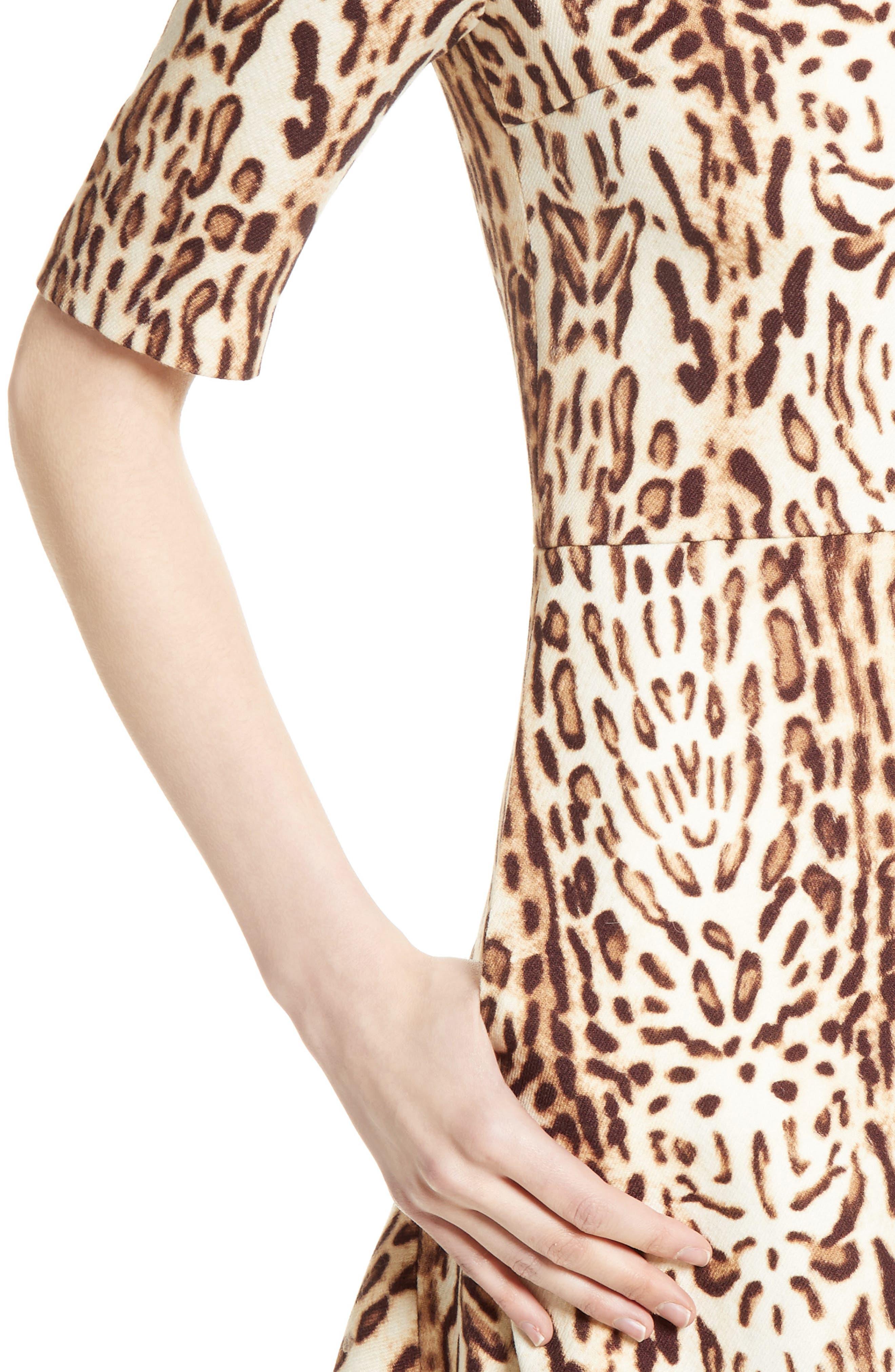 Ocelot Print Wool Midi Dress,                             Alternate thumbnail 4, color,