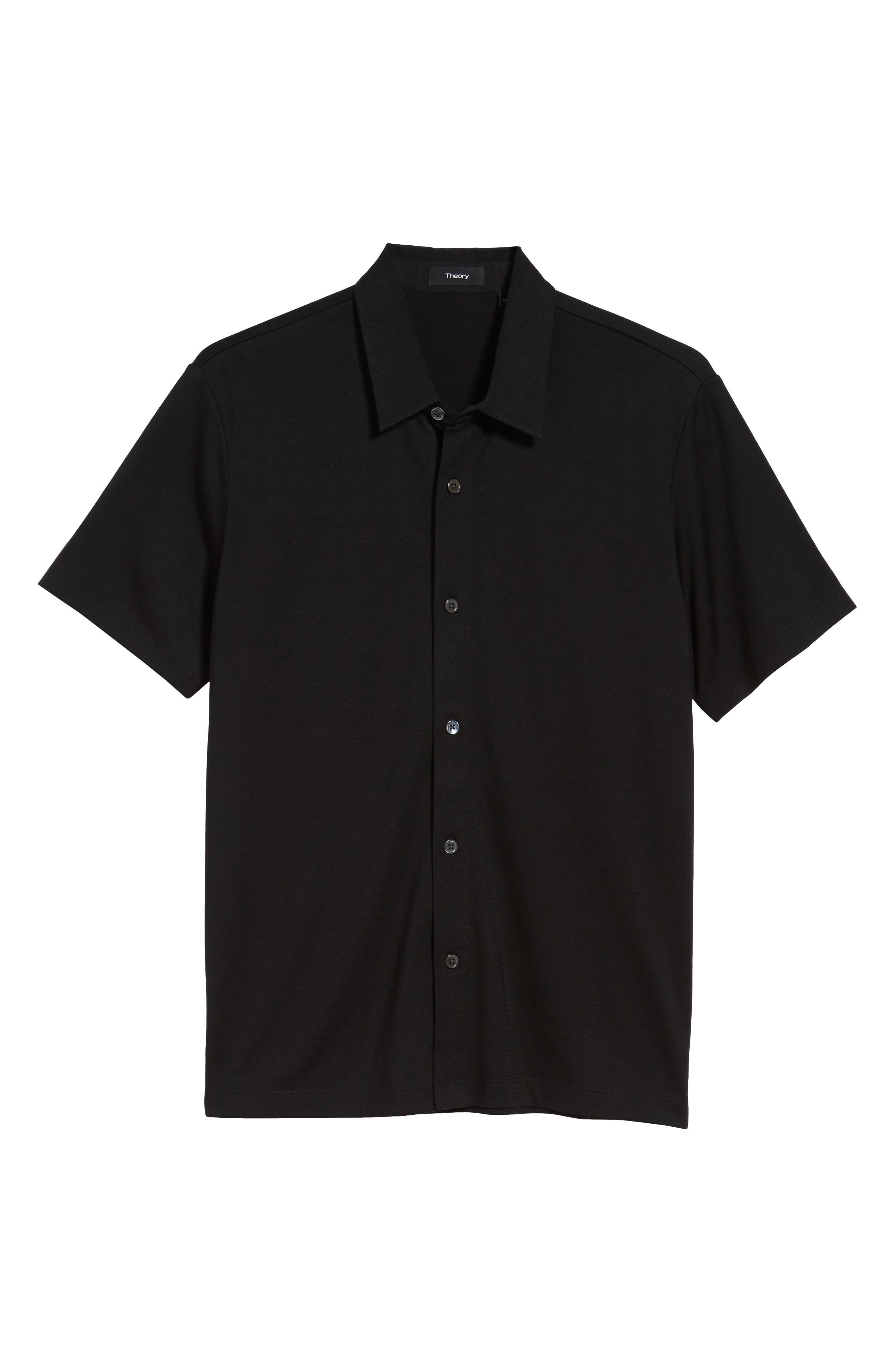 Incisi Slim Fit Knit Silk Blend Shirt,                             Alternate thumbnail 6, color,                             BLACK