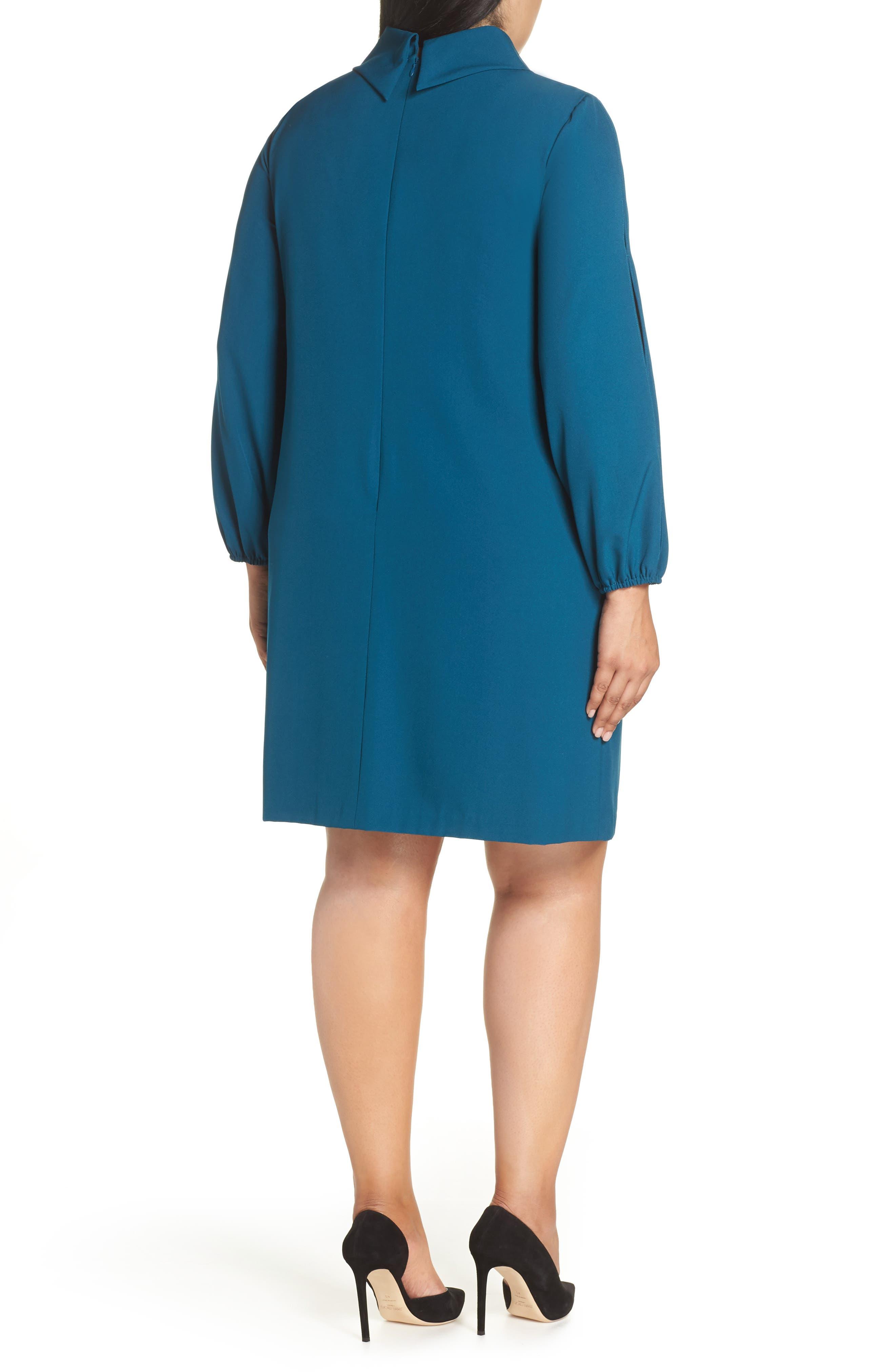 Long Split Sleeve Crepe Sheath Dress,                             Alternate thumbnail 2, color,                             OCEAN TEAL