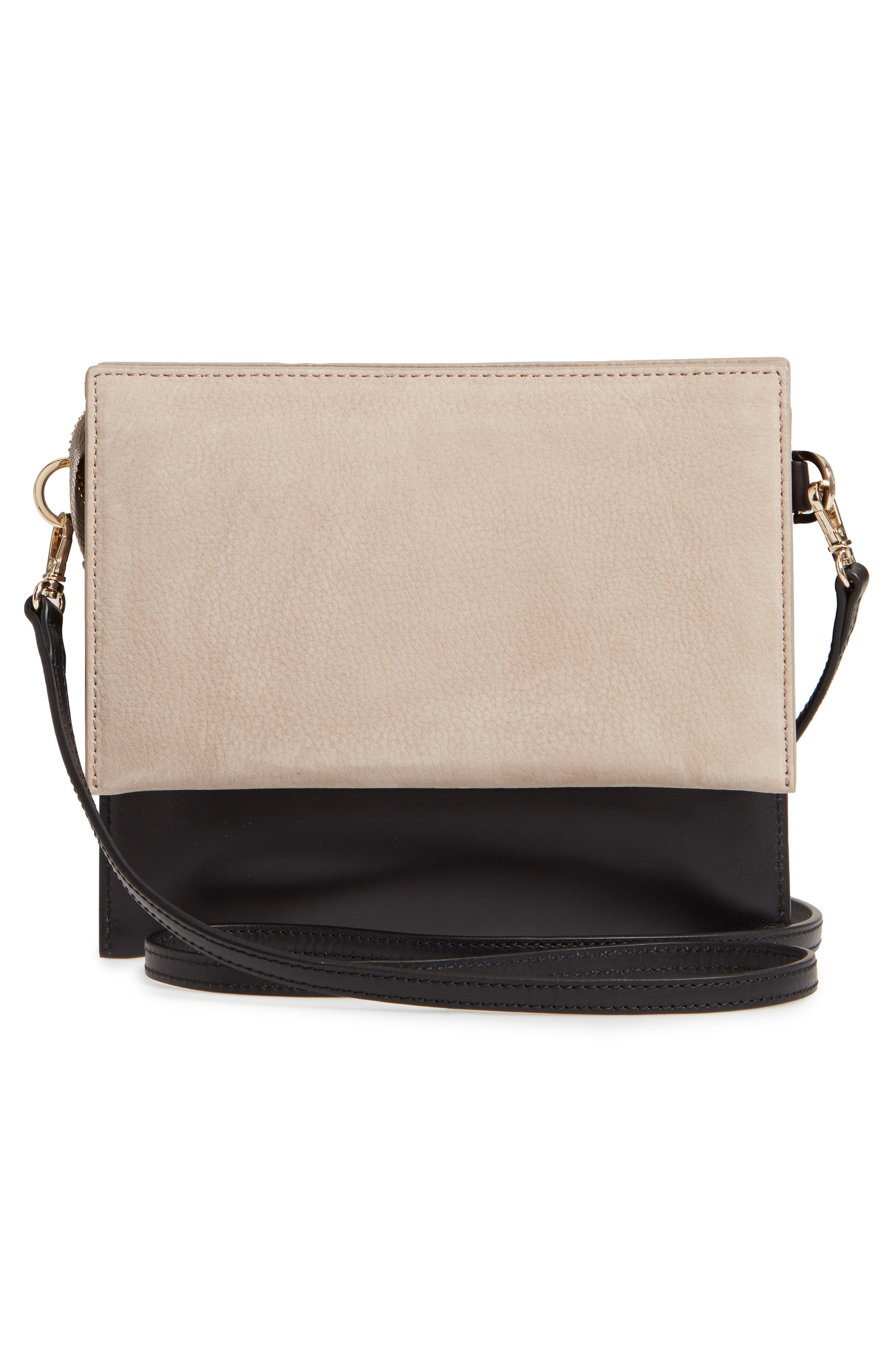 Triple Leather & Suede Crossbody Bag,                             Alternate thumbnail 3, color,                             TAUPE/ TRUE BLACK