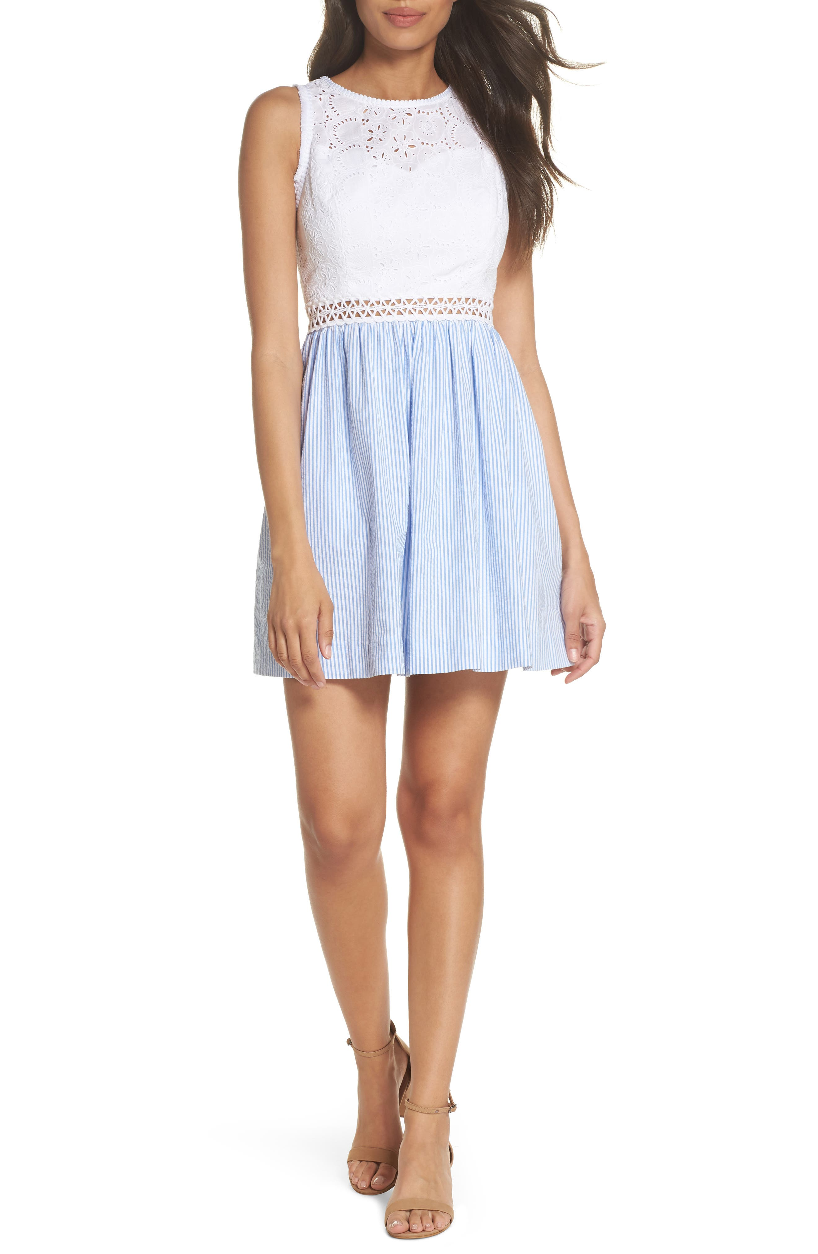 Lilly Pullitzer<sup>®</sup> Alivia Eyelet & Seersucker Fit & Flare Dress,                             Main thumbnail 1, color,                             BENNET BLUE YARD DYED STRIPE