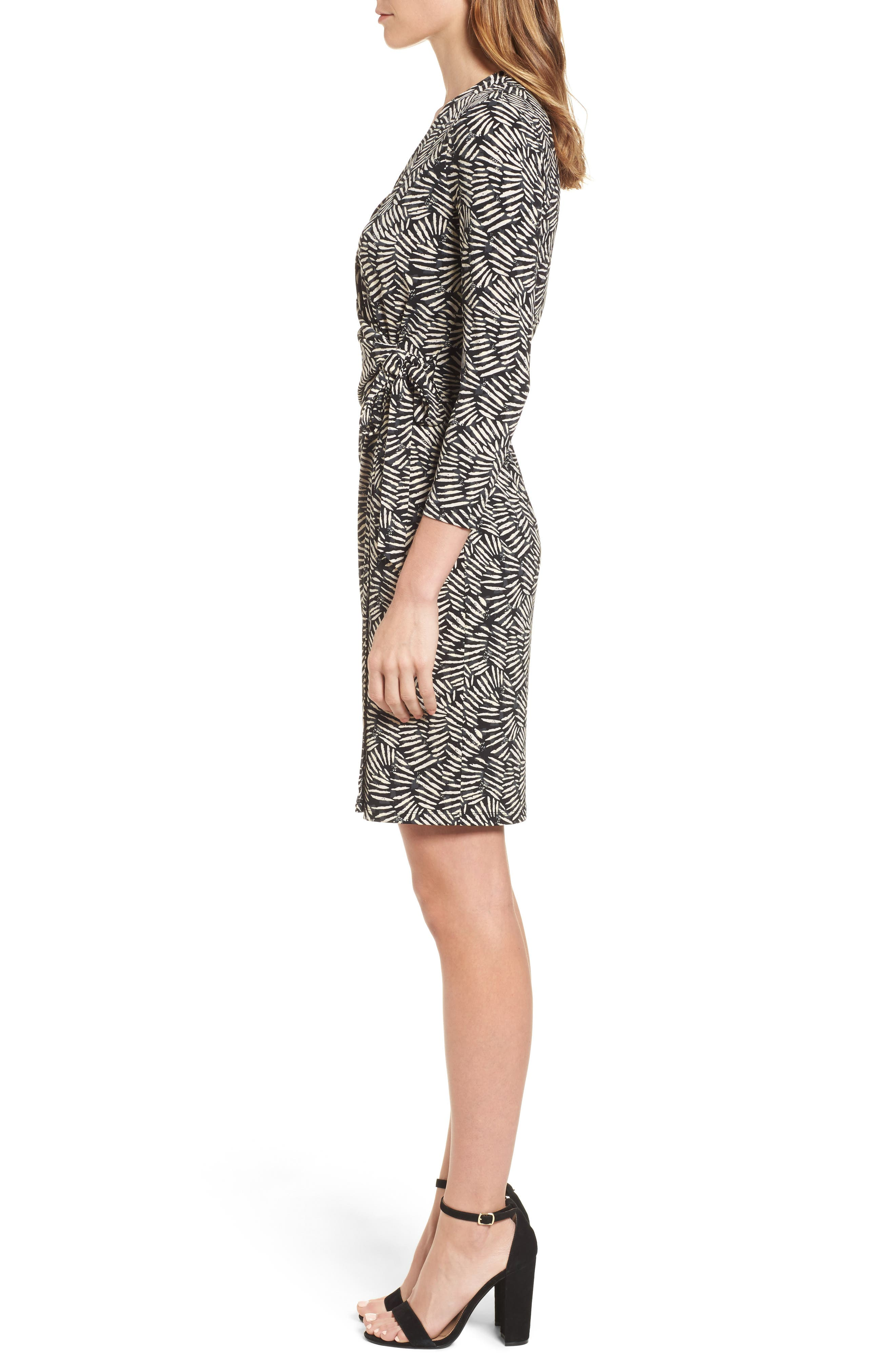 Print Wrap Dress,                             Alternate thumbnail 3, color,                             011
