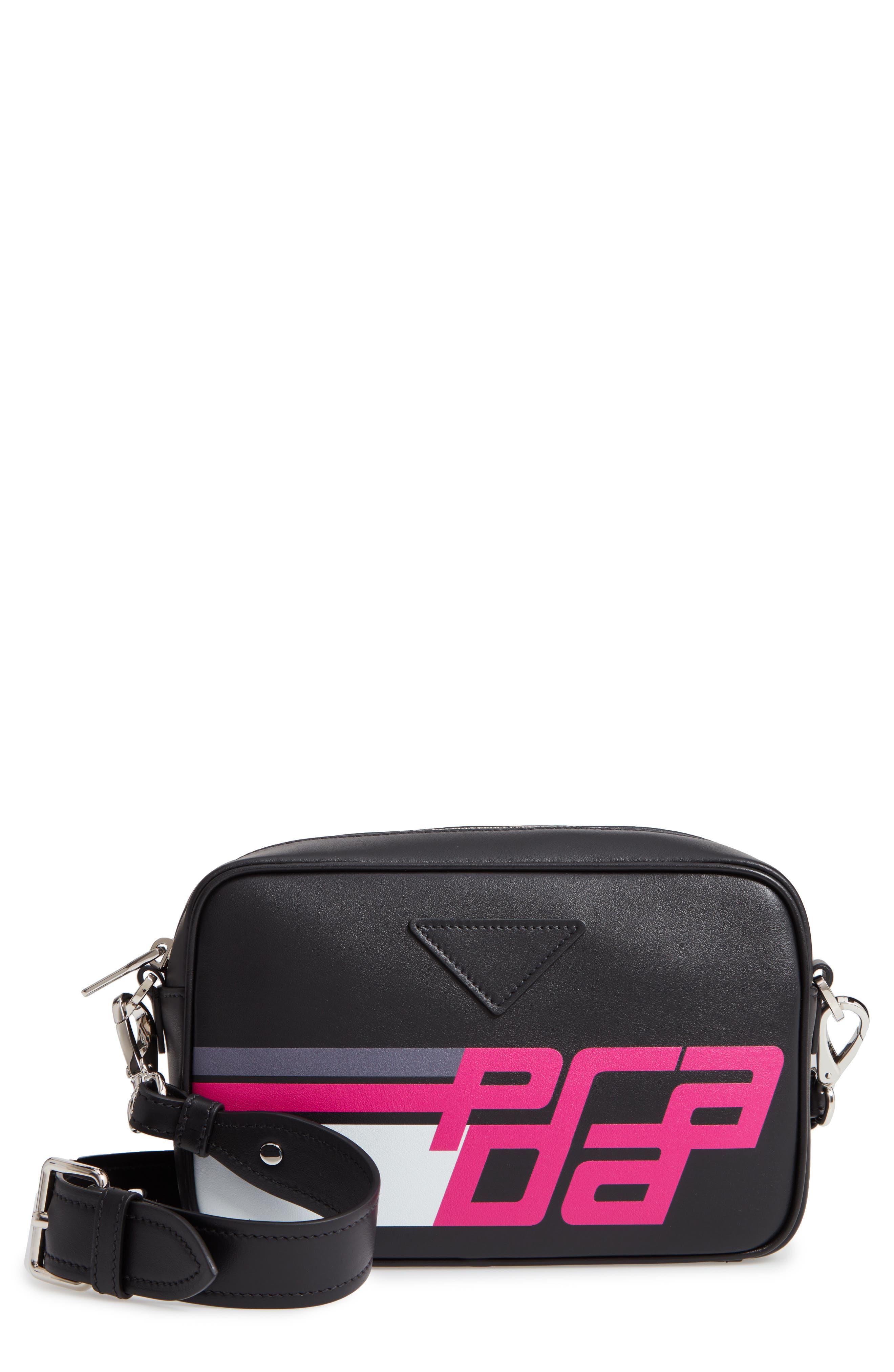 Logo Print Leather Crossbody Bag,                             Main thumbnail 1, color,                             FUXIA/ NERO