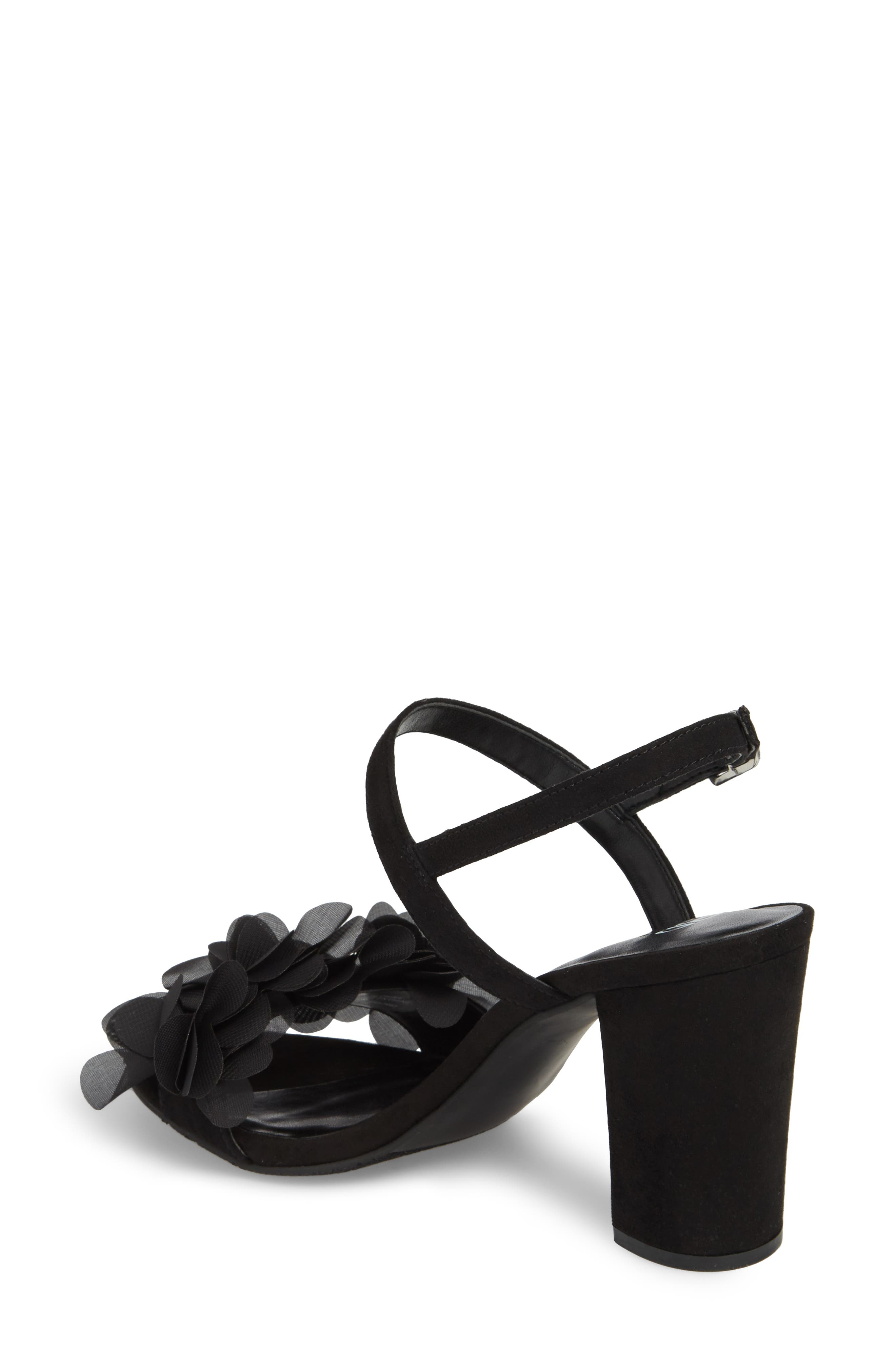 Lula Block Heel Slingback Sandal,                             Alternate thumbnail 2, color,                             BLACK FLOWERS FABRIC
