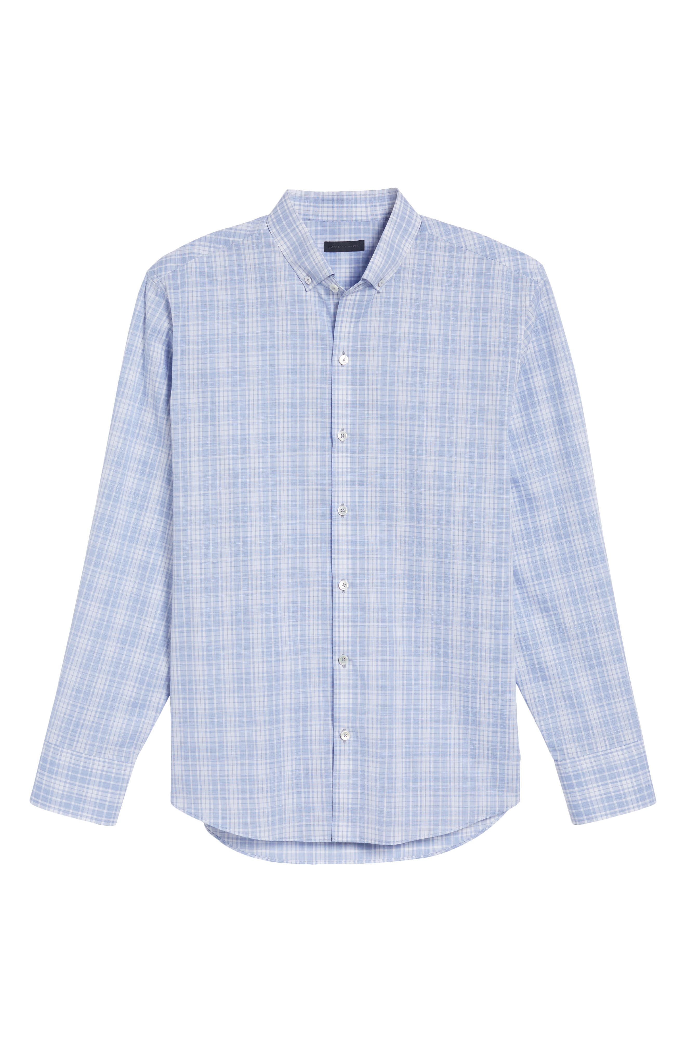 Cochran Slim Fit Plaid Sport Shirt,                             Alternate thumbnail 6, color,                             BLUE