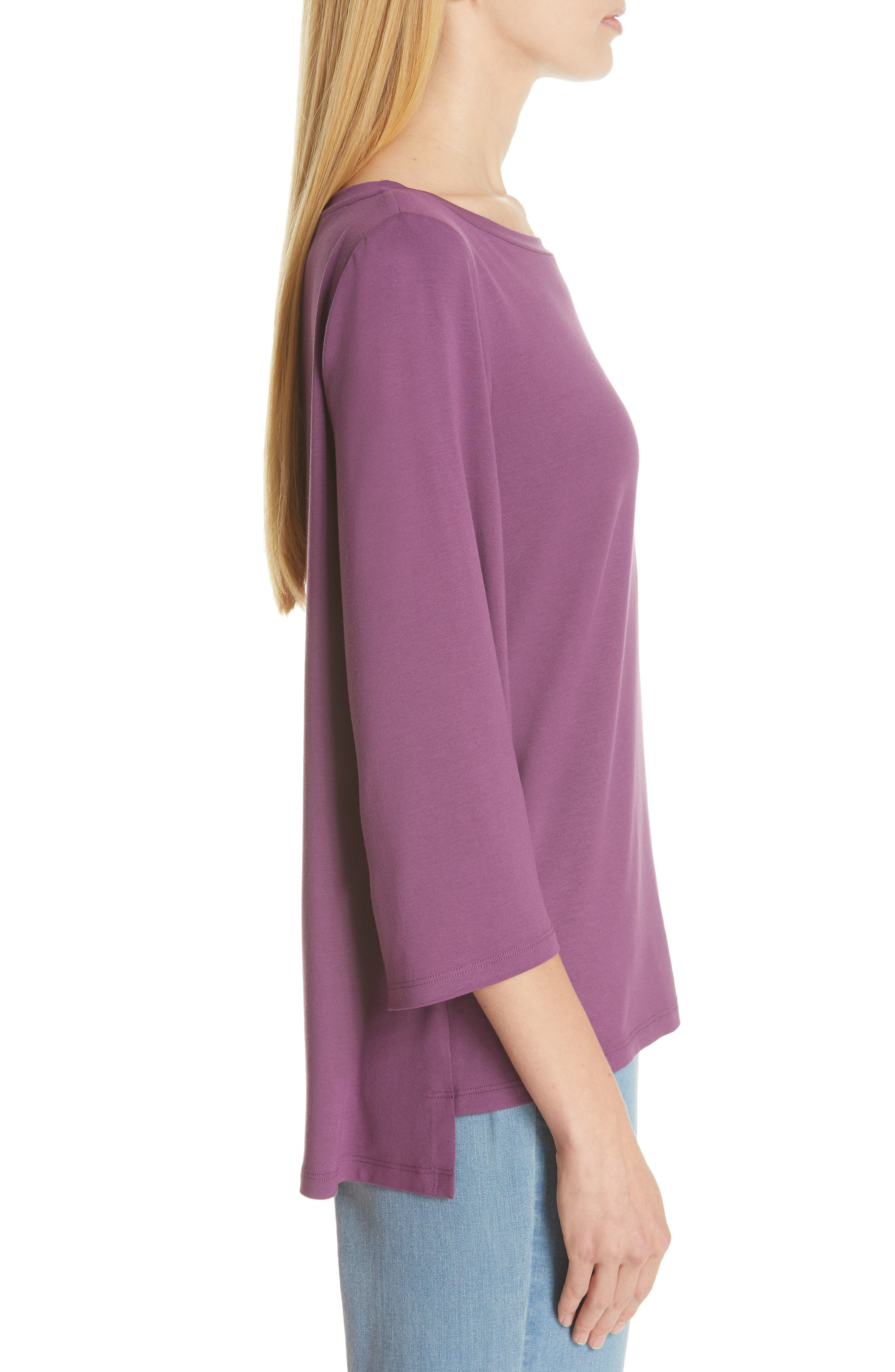 Flare Sleeve Top,                             Alternate thumbnail 3, color,                             CURRANT