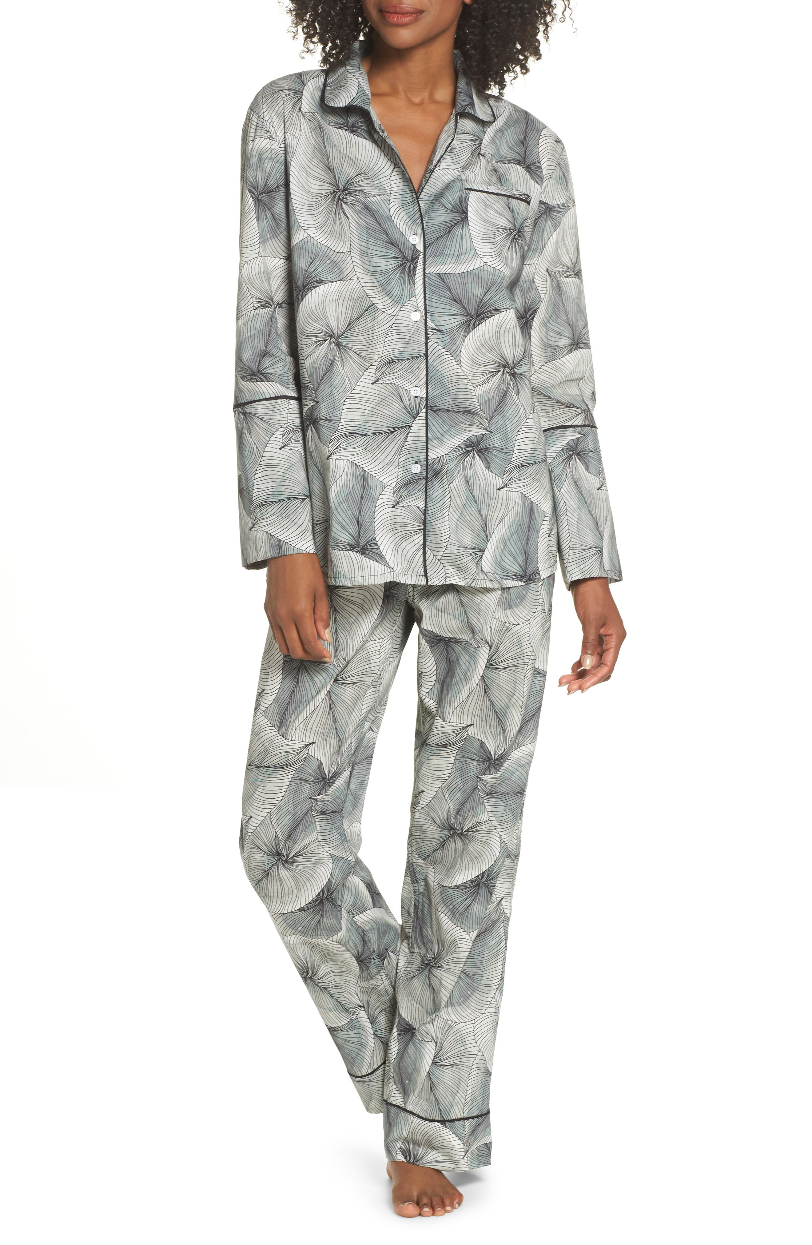 Cotton Voile Pajamas,                         Main,                         color, LEAF PRINT