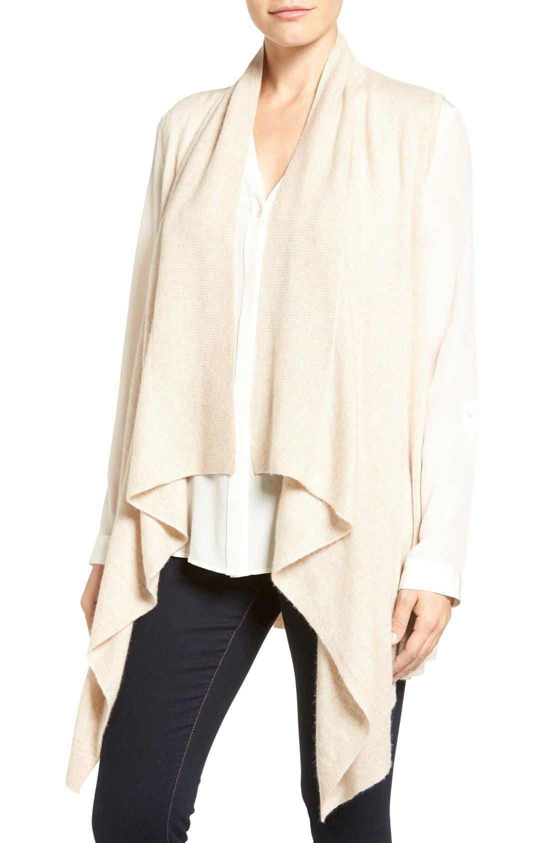 Wool & Cashmere Drape Front Sweater Vest,                             Main thumbnail 6, color,