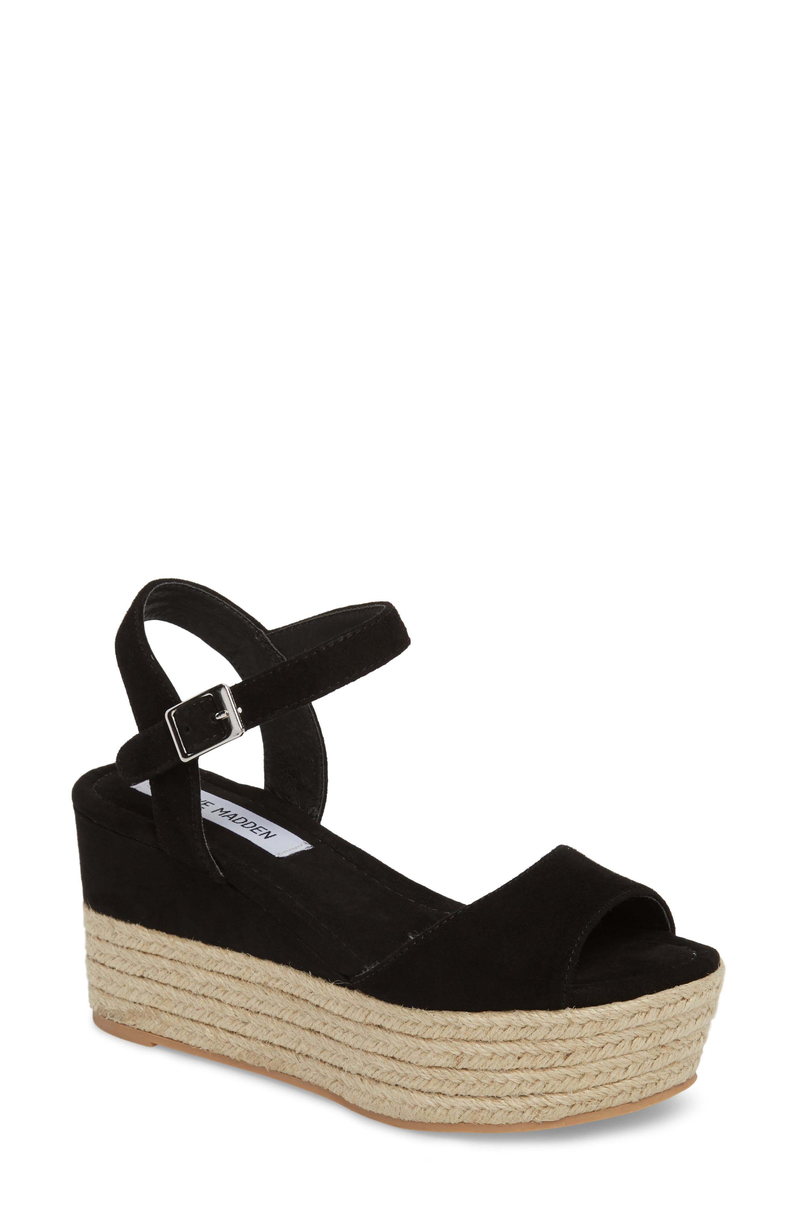 Kianna Espadrille Wedge Sandal,                             Main thumbnail 1, color,                             BLACK SUEDE