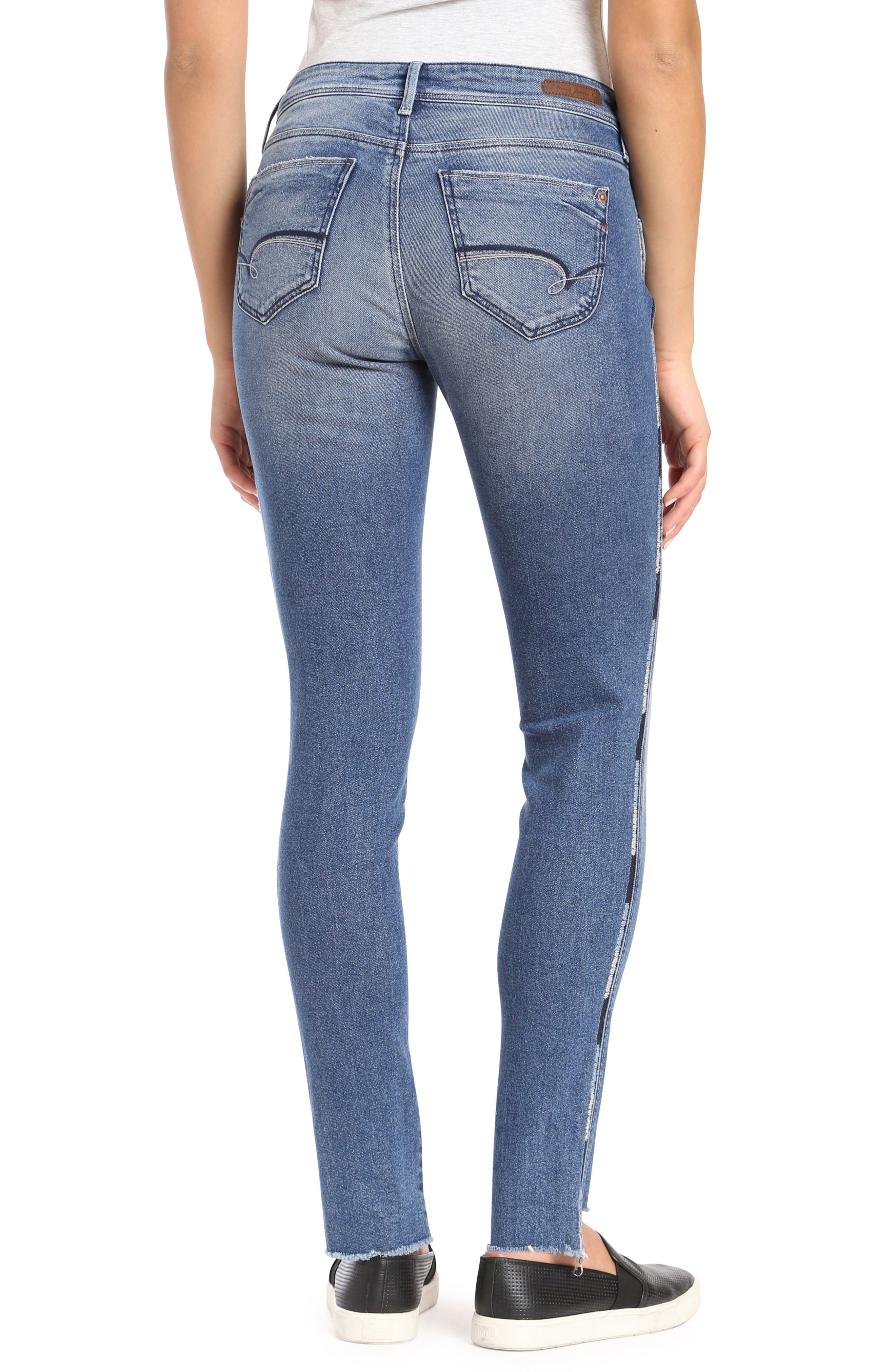 Adriana Contrast Side Stripe Skinny Jeans,                             Alternate thumbnail 2, color,                             400