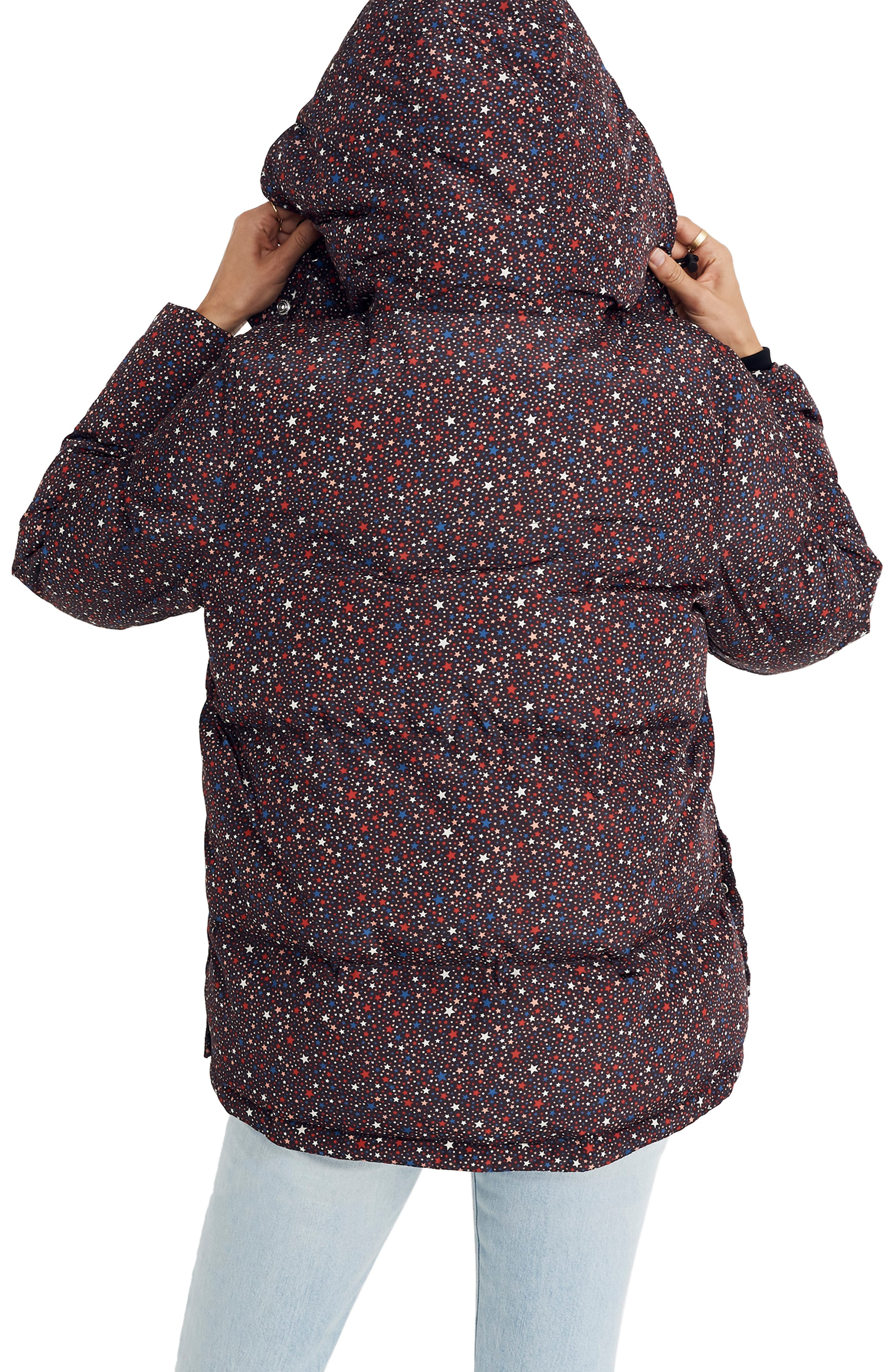Starry Night Quilted Puffer Parka,                             Alternate thumbnail 2, color,                             DARK MEDITERRANEAN