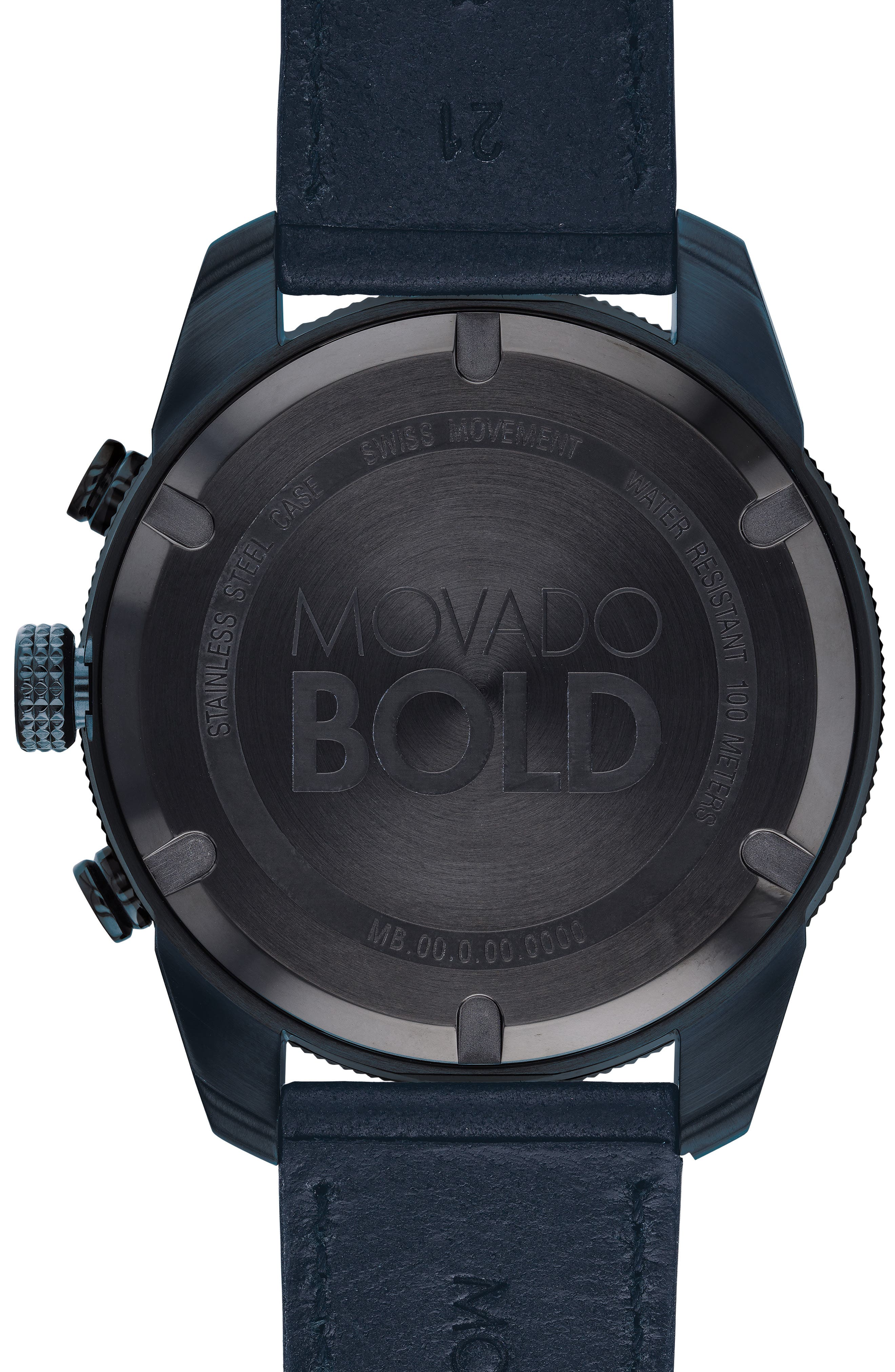 Bold Sport Chronograph Leather Strap Watch, 44mm,                             Alternate thumbnail 2, color,                             NAVY BLUE/ BLACK