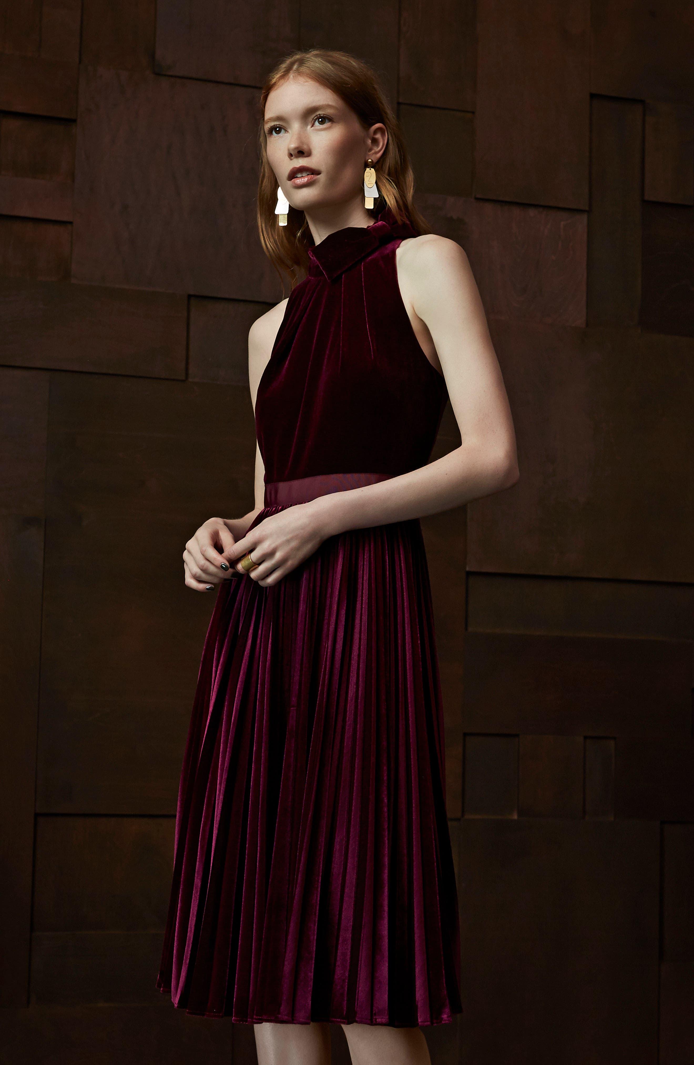 Cornela Pleated Velvet Dress,                             Alternate thumbnail 6, color,