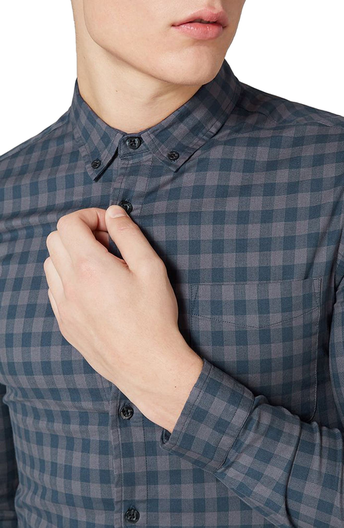 Muscle Fit Gingham Shirt,                             Alternate thumbnail 3, color,                             411