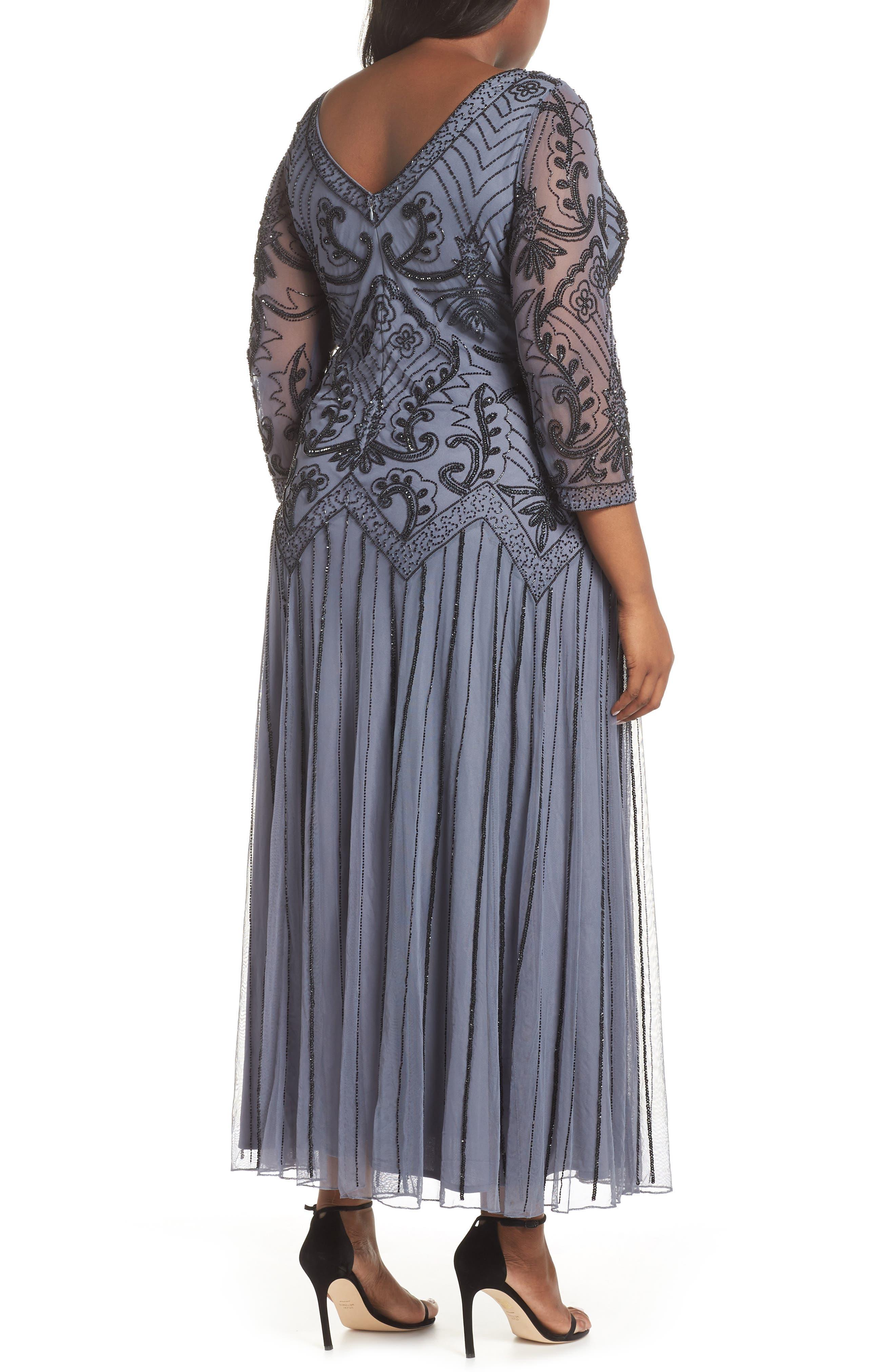 Embellished Double V-Neck Long Dress,                             Alternate thumbnail 2, color,                             GREY/ SILVER