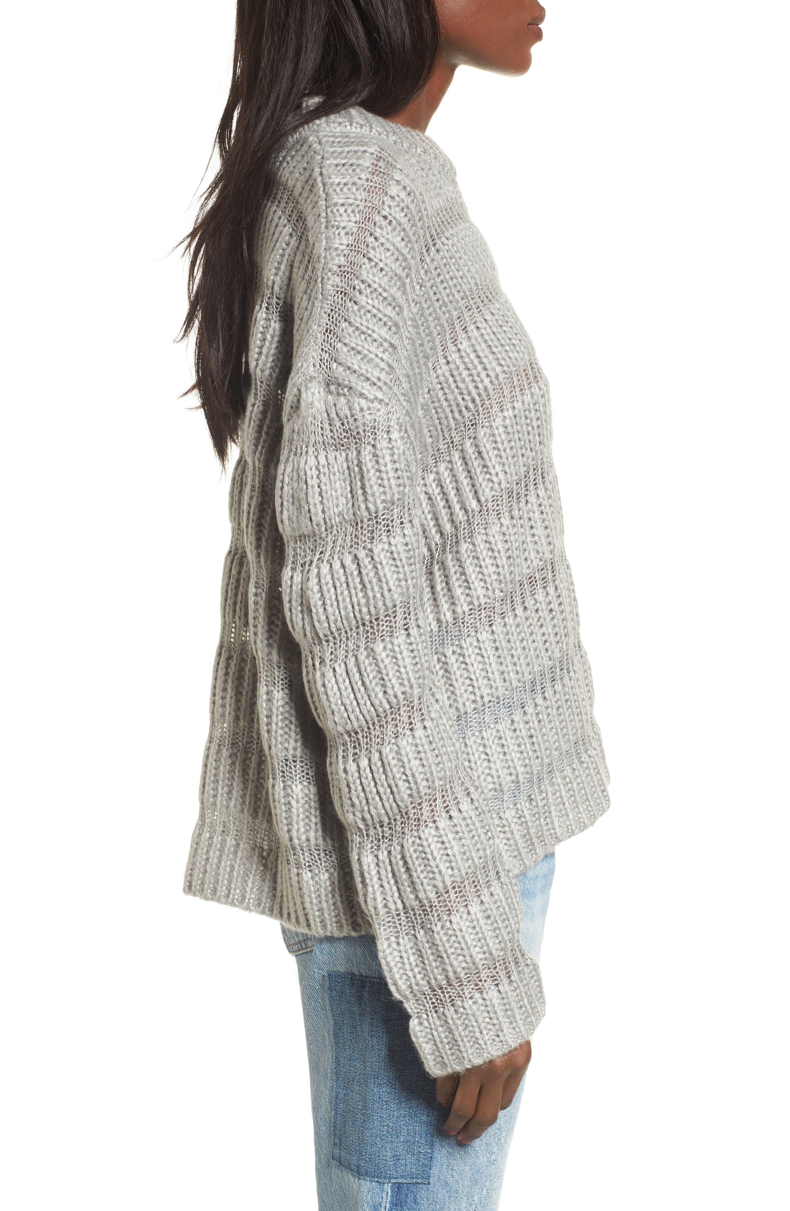 Textured Stripe Crop Sweater,                             Alternate thumbnail 3, color,