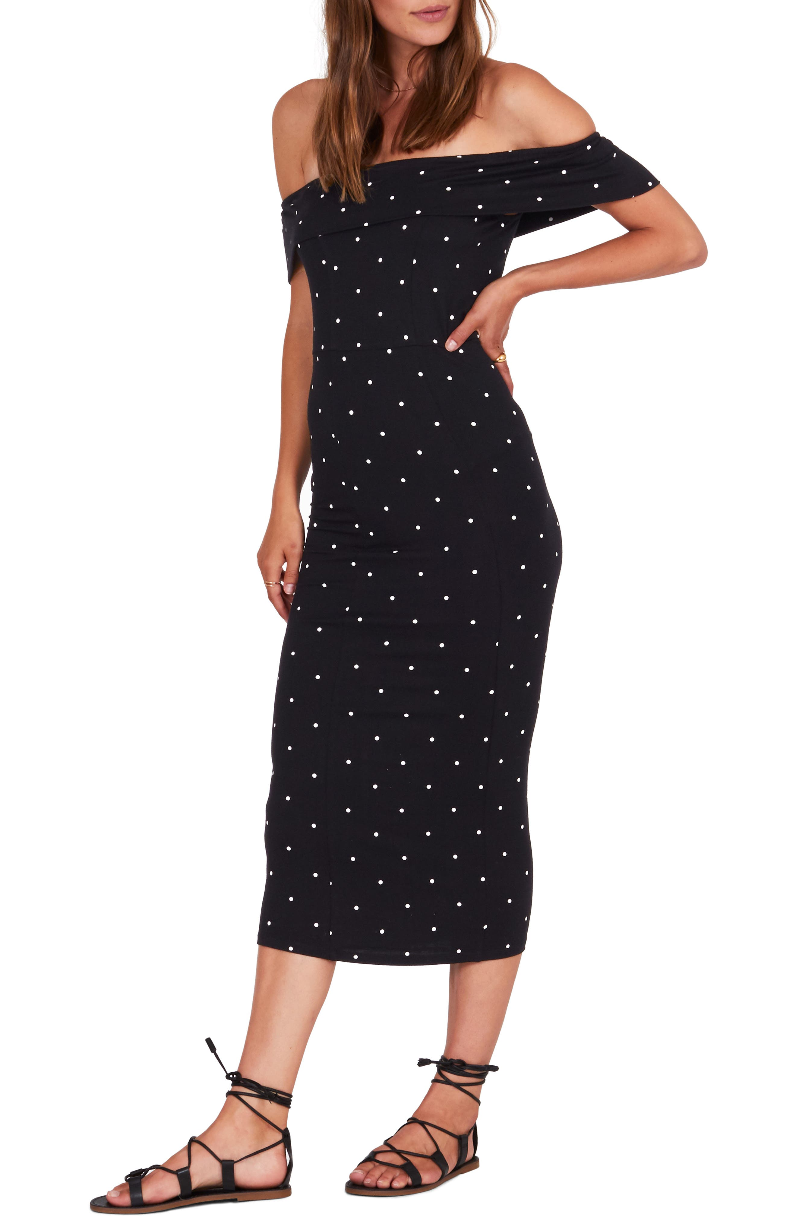 Amuse Society Oye Mami Off The Shoulder Midi Dress, Black