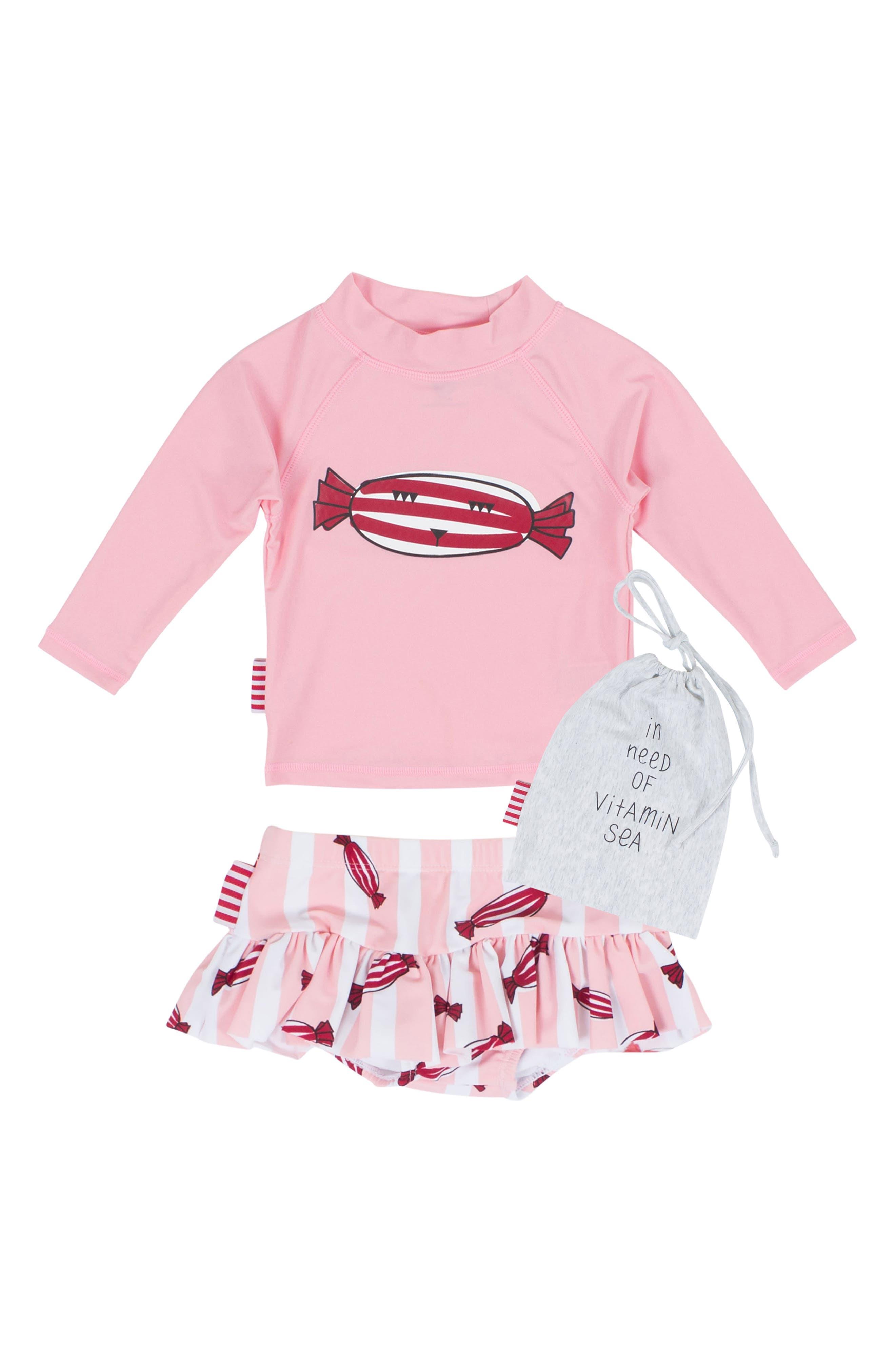 Bonbon Two-Piece Rashguard Swimsuit,                         Main,                         color, 650