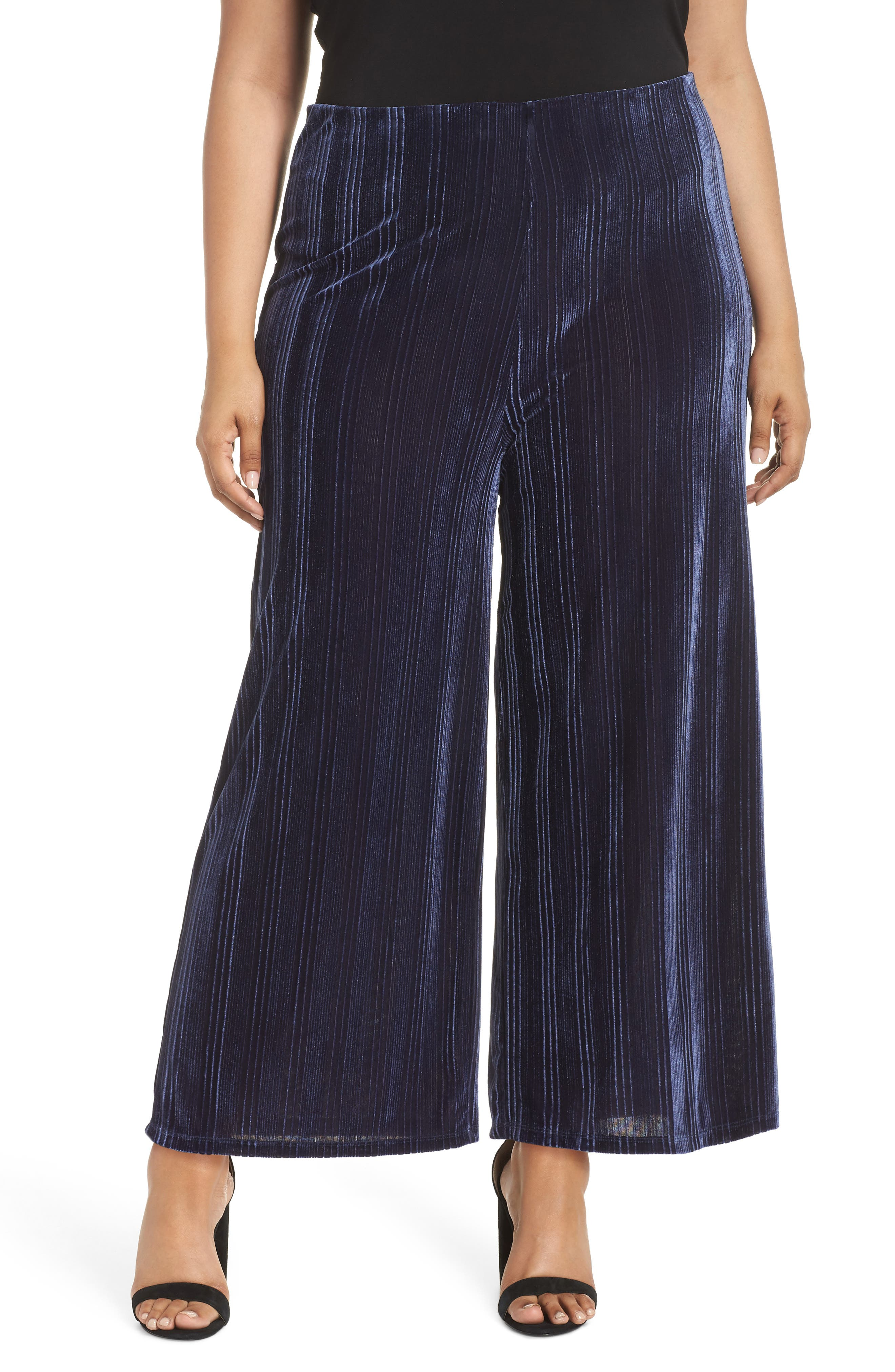 High Rise Velour Wide Leg Crop Pants,                         Main,                         color, NAVY MARITIME