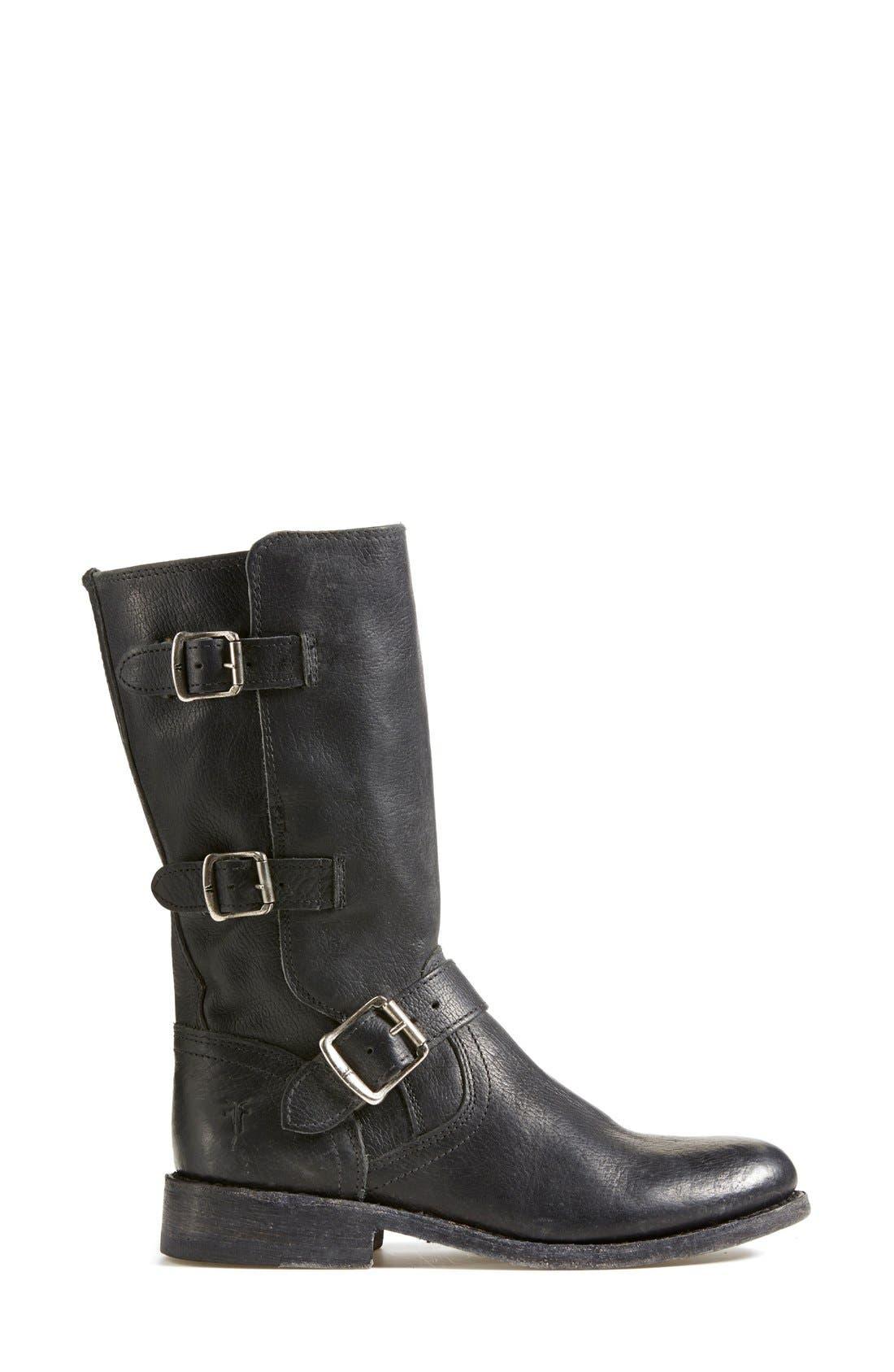 'Jayden' Leather Moto Boot,                             Alternate thumbnail 6, color,                             001