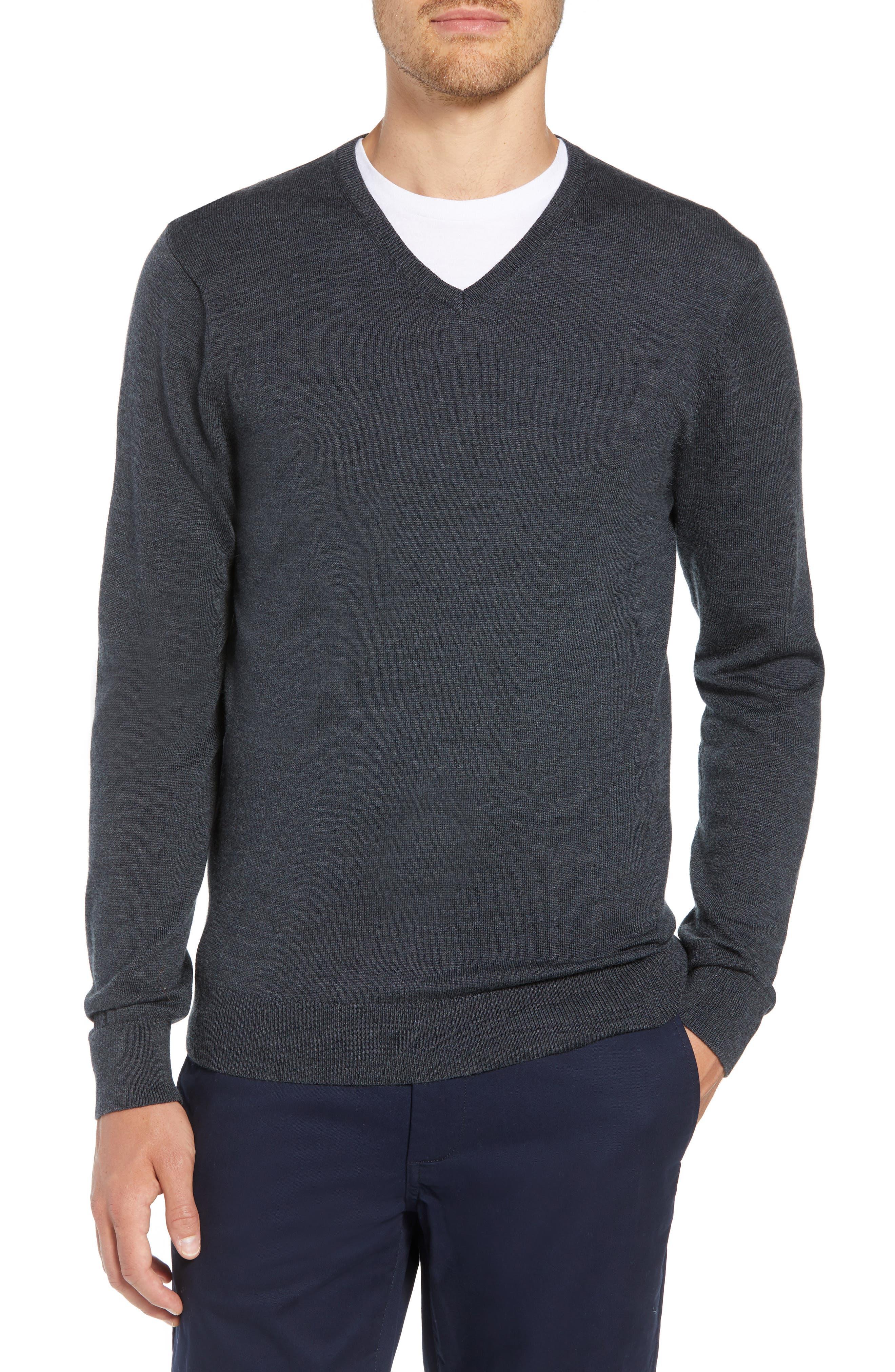 Bonobos Slim Fit V-Neck Merino Wool Sweater, Grey