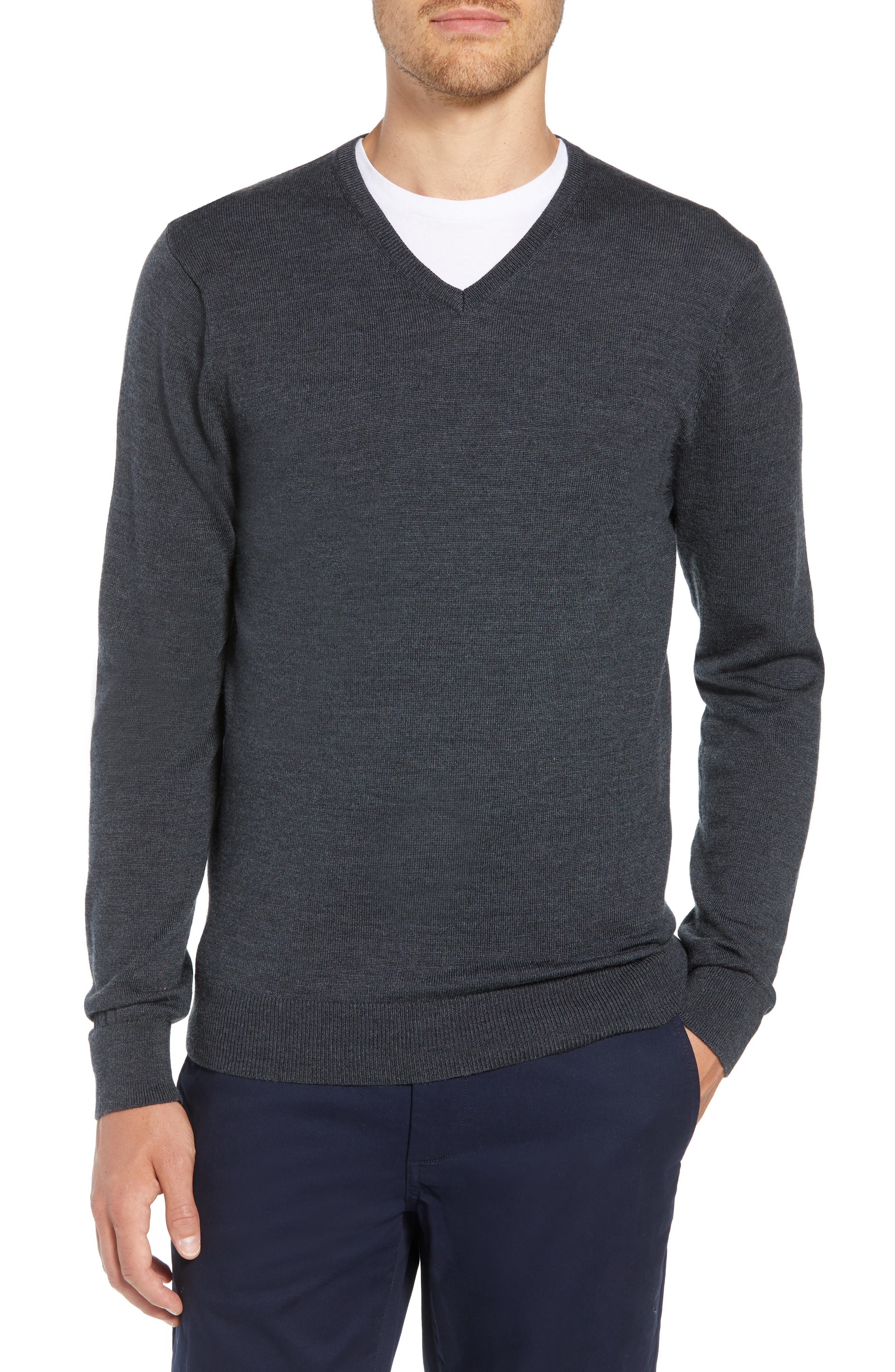 Slim Fit V-Neck Merino Wool Sweater,                             Main thumbnail 1, color,                             HEATHER CHARCOAL