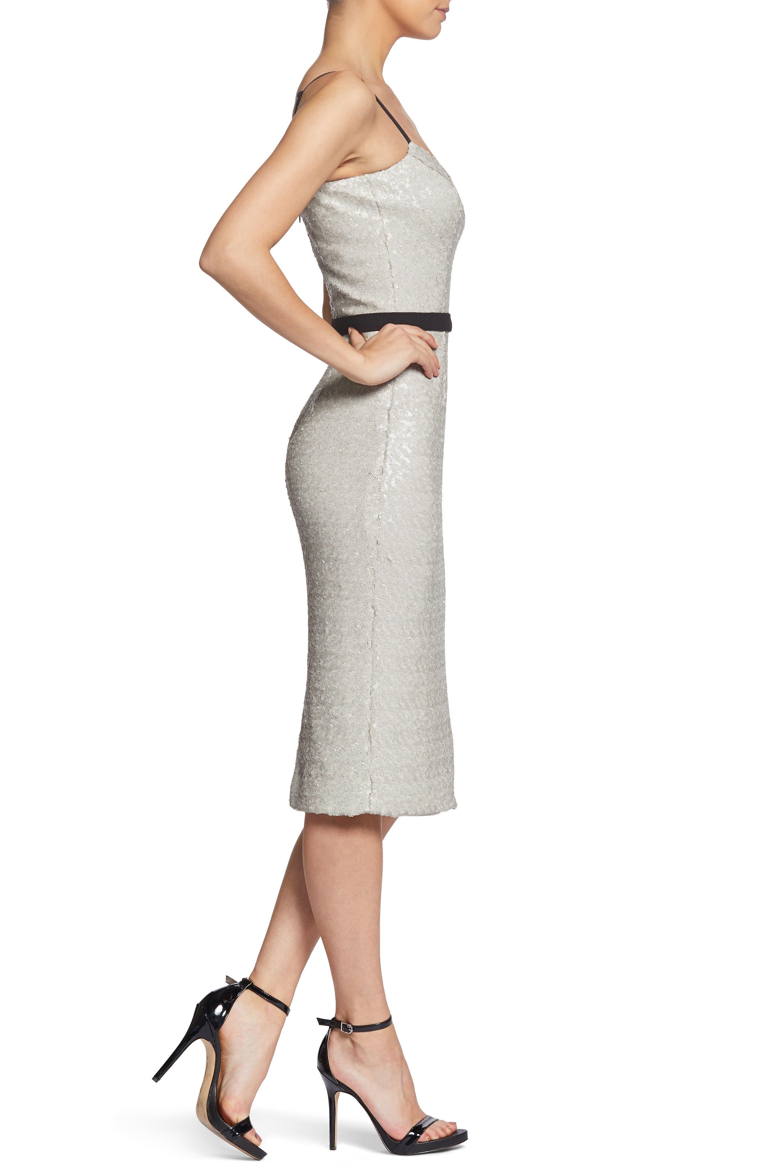 Emma Sequin Body-Con Dress,                             Alternate thumbnail 3, color,                             BONE