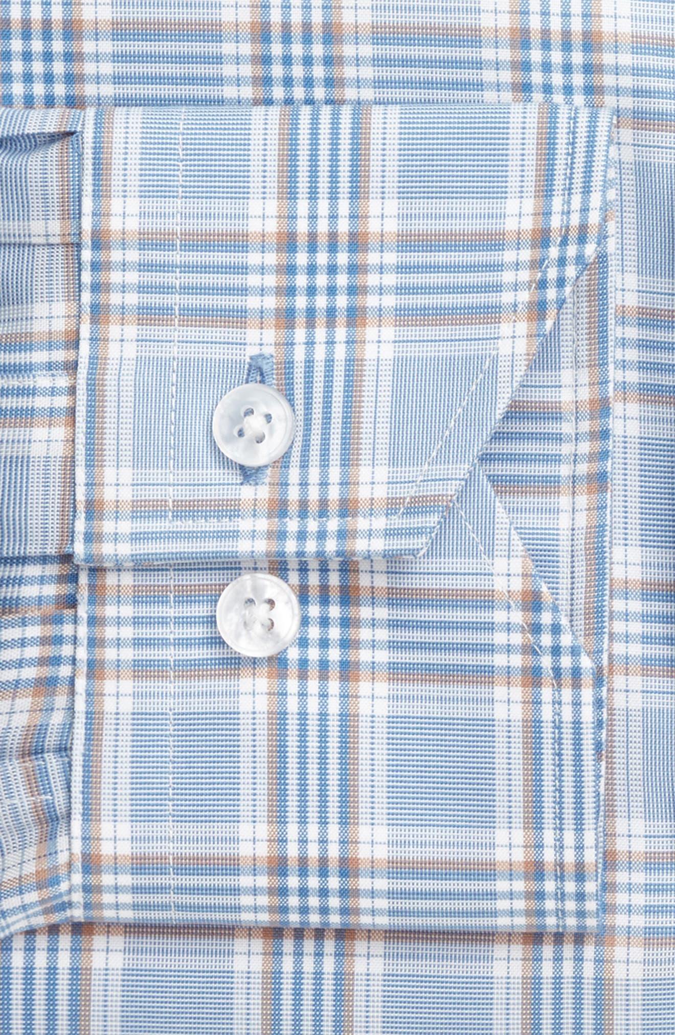 Trim Fit Plaid Dress Shirt,                             Alternate thumbnail 4, color,                             LIGHT BLUE