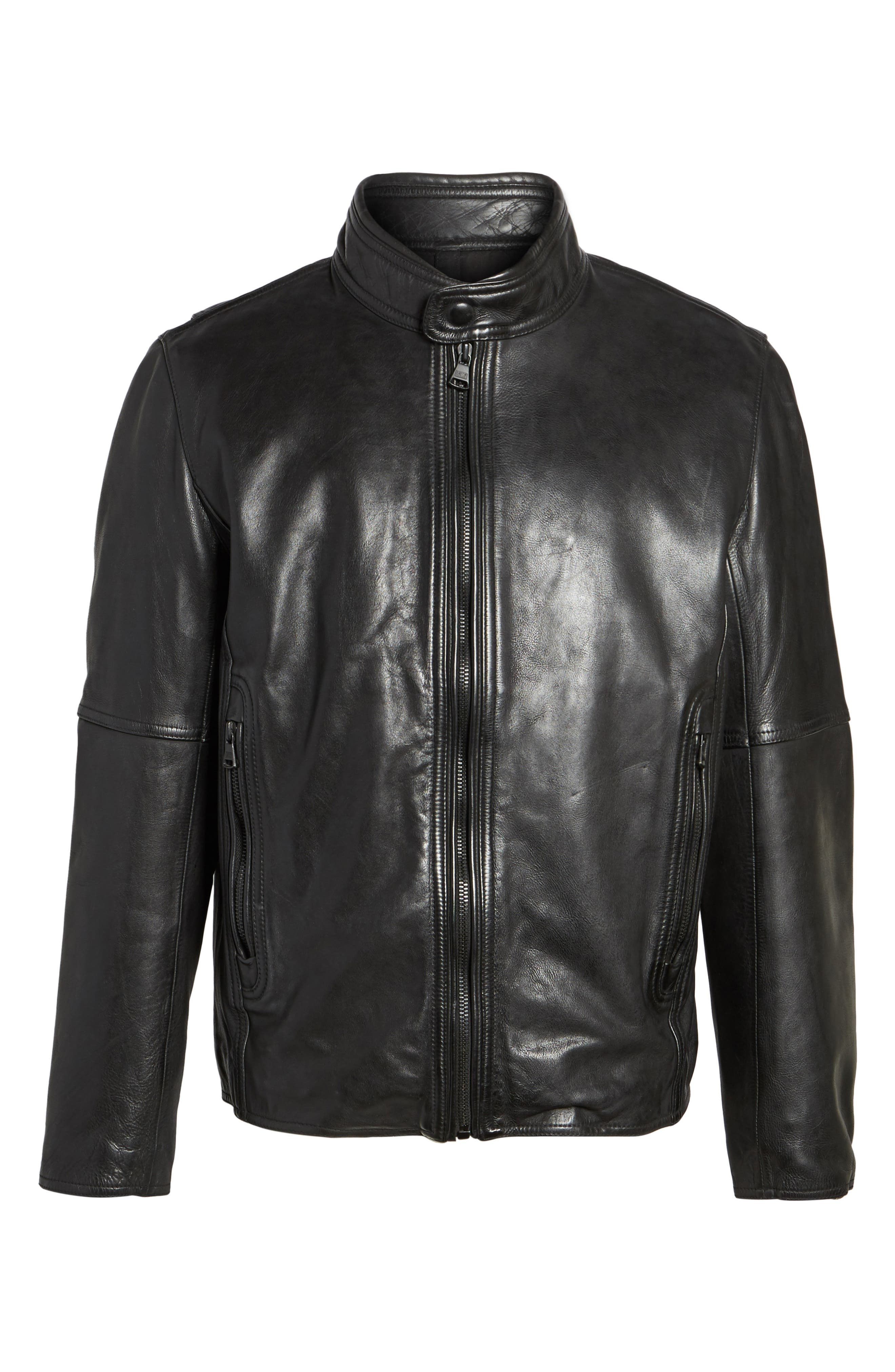 Calfskin Leather Moto Jacket,                             Alternate thumbnail 5, color,                             001
