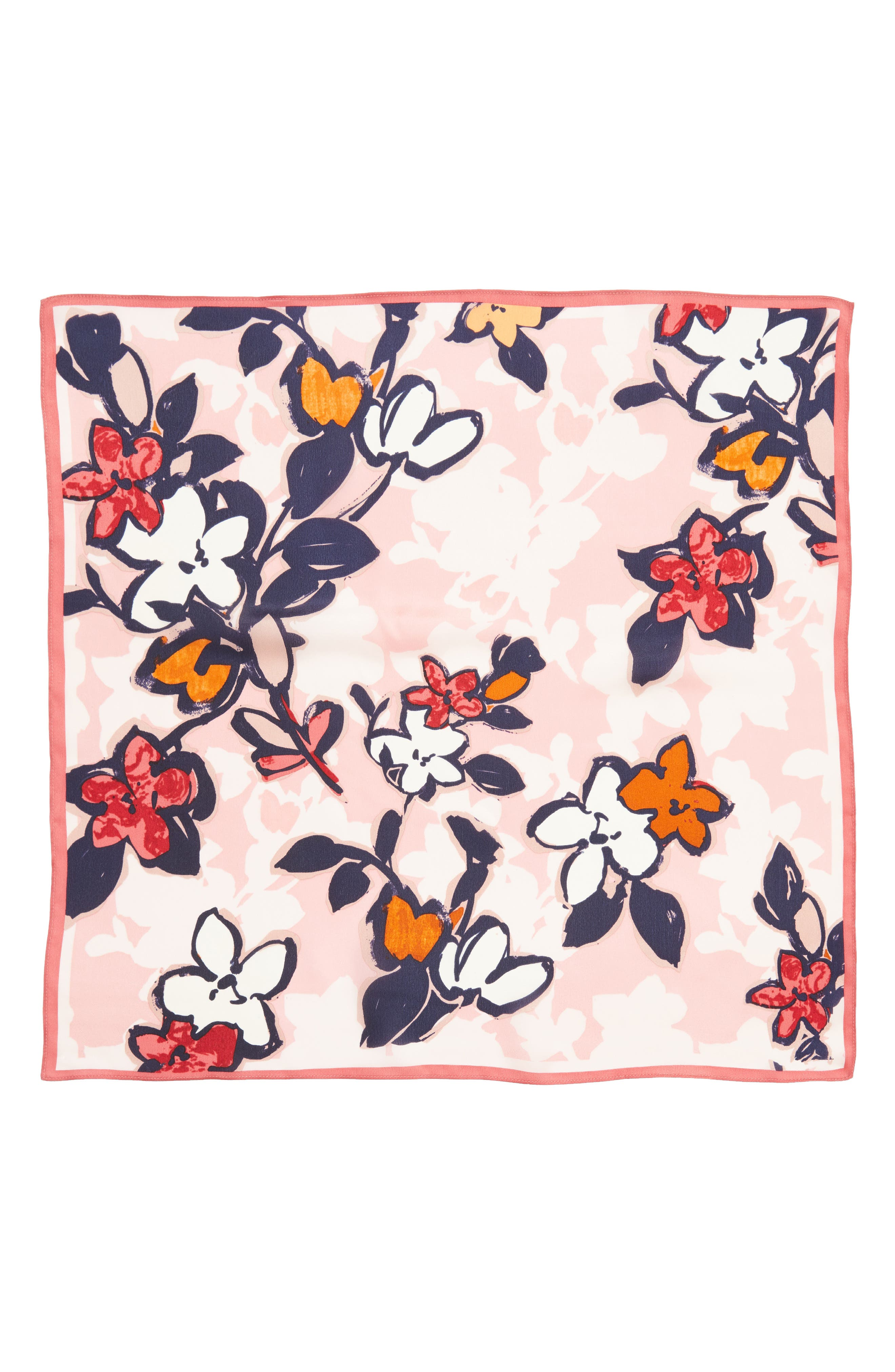 Bloom Floral Silk Square Scarf,                             Alternate thumbnail 6, color,