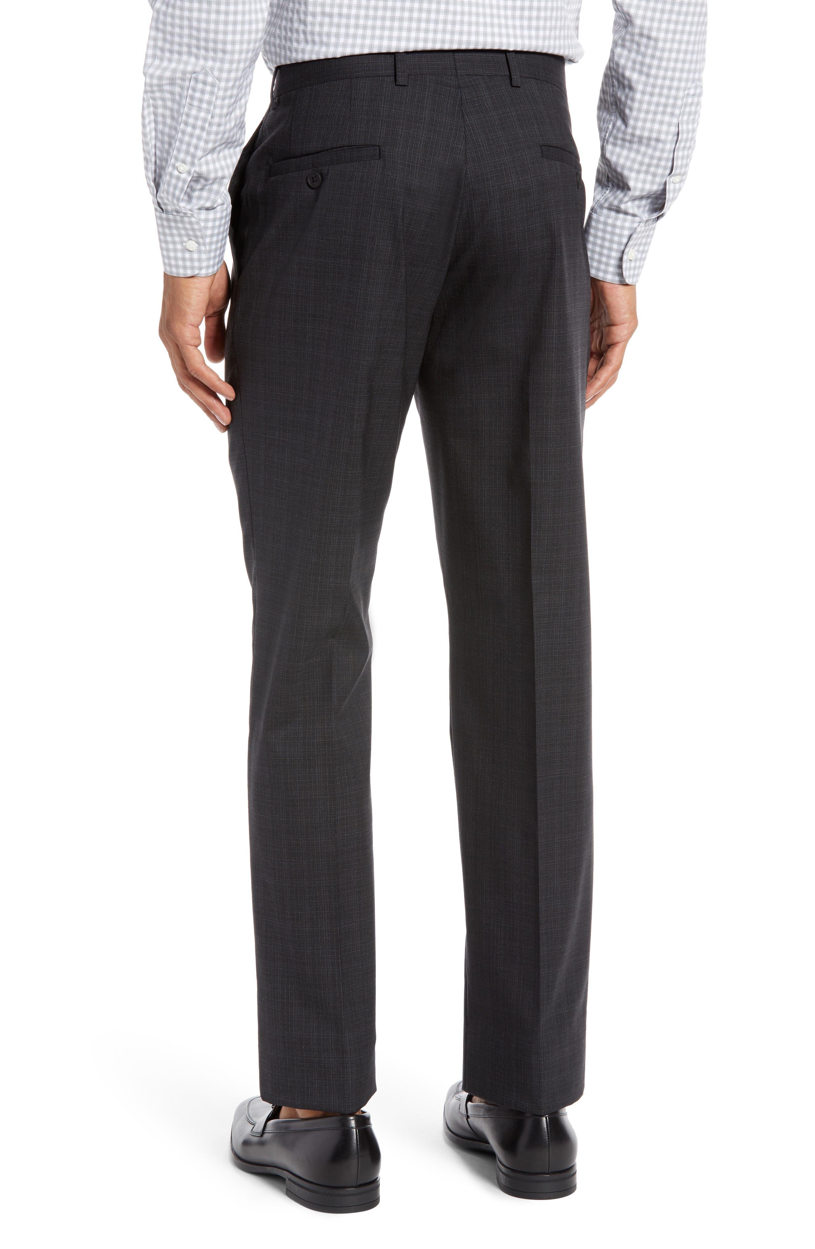 Trim Fit Flat Front Stretch Wool Pants,                             Alternate thumbnail 2, color,                             BLACK