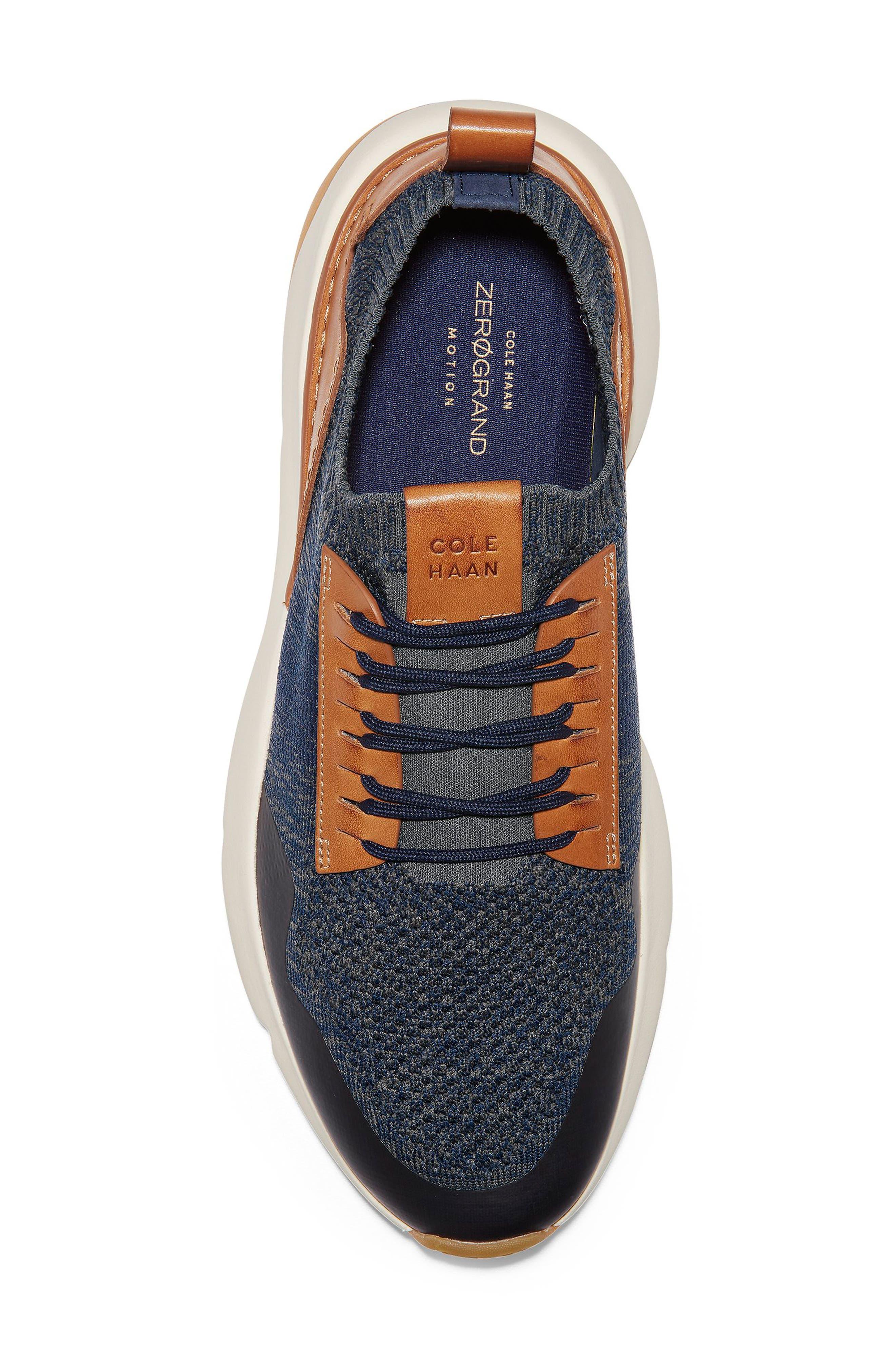 ZeroGrand All-Day Trainer Sneaker,                             Alternate thumbnail 5, color,                             MARINE BLUE/ TAN KNIT
