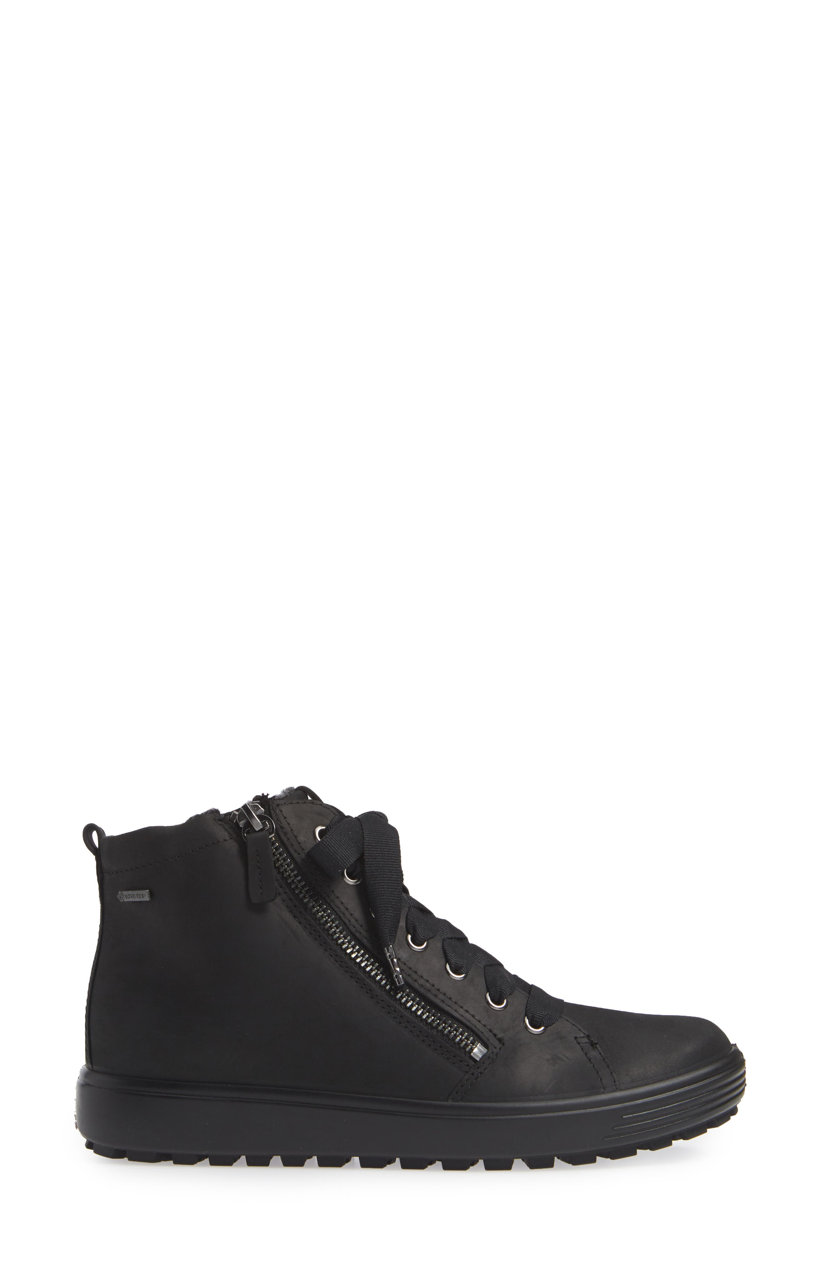 ECCO,                             Soft 7 Tred Gore-Tex<sup>®</sup> Waterproof Bootie,                             Alternate thumbnail 3, color,                             BLACK OIL NUBUCK LEATHER
