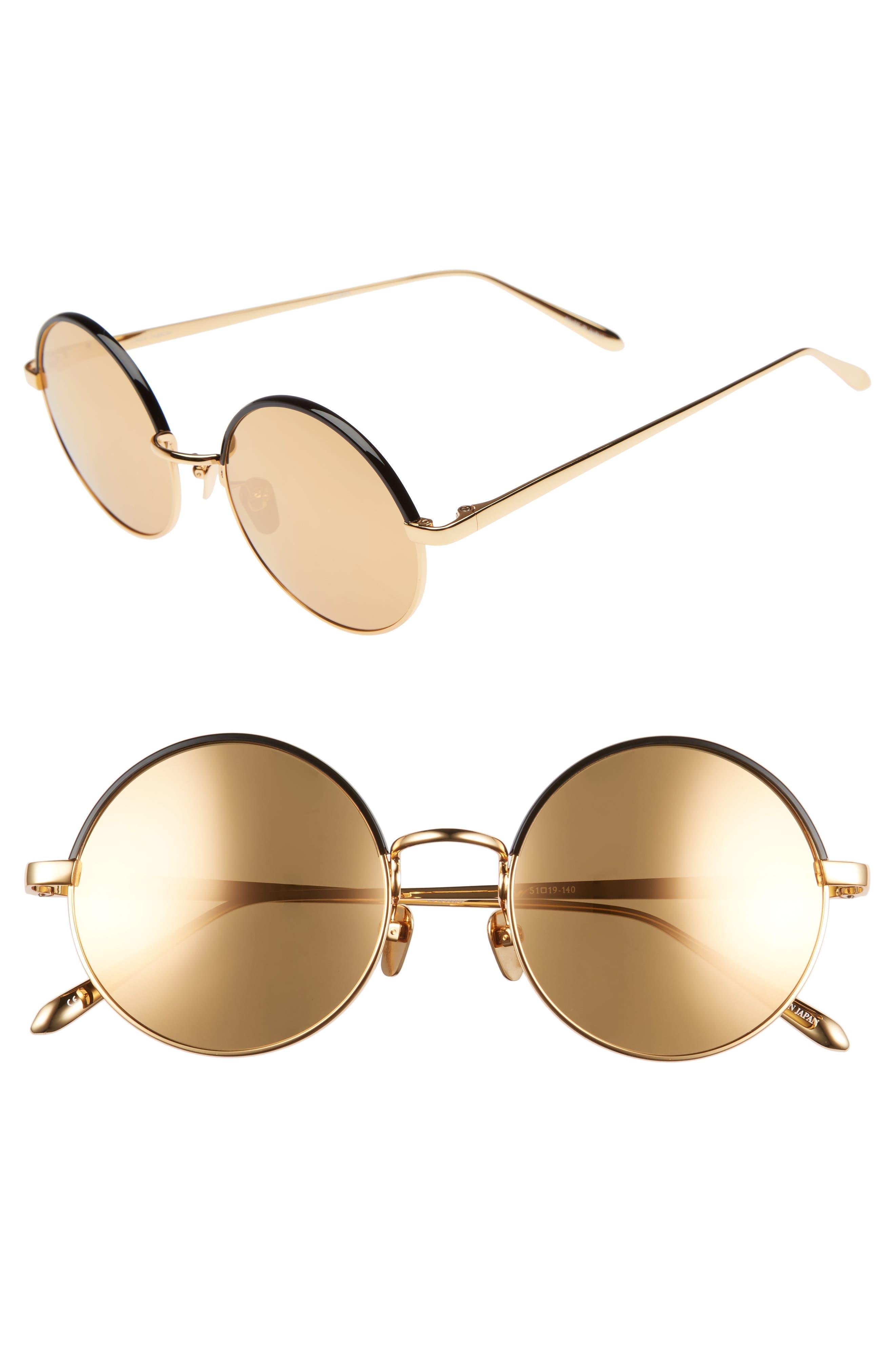51mm Mirrored 18 Karat Gold Trim Round Sunglasses,                             Main thumbnail 1, color,                             710
