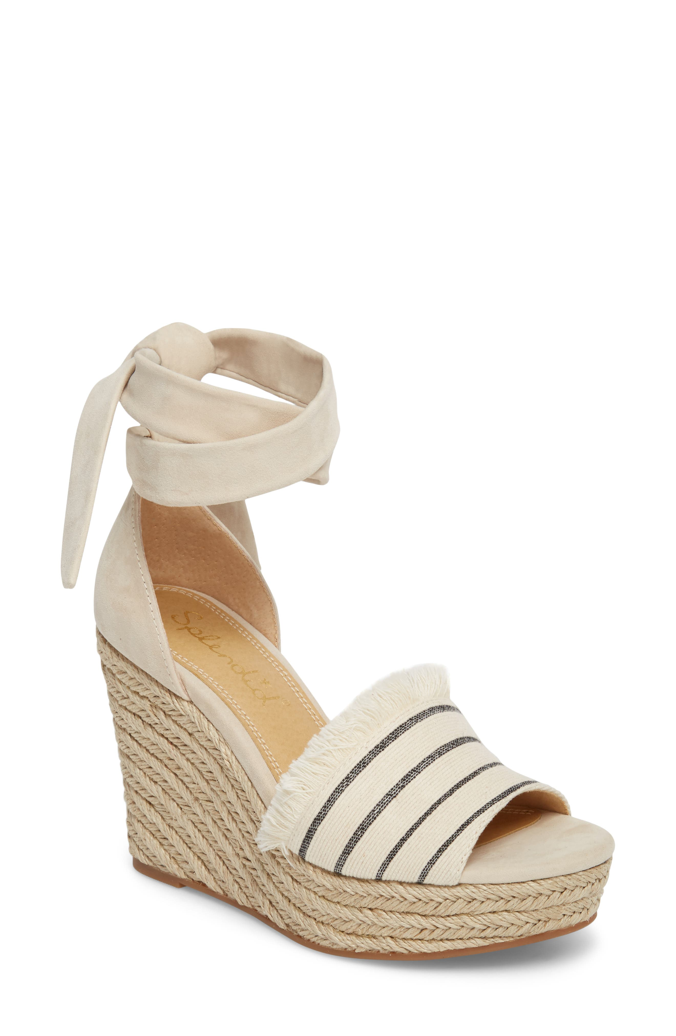 Barke Fringed Platform Wedge Sandal,                         Main,                         color, 100
