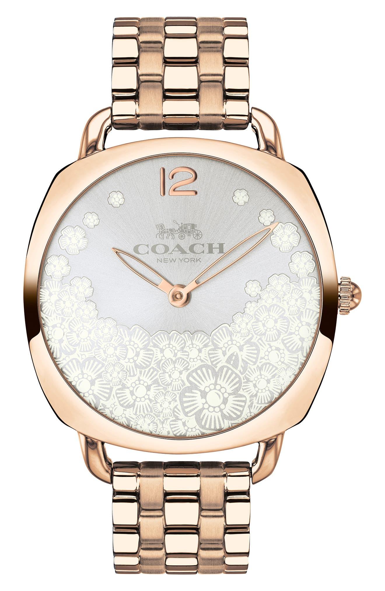 Tatum Slim Bracelet Watch, 36mm,                         Main,                         color, ROSE GOLD/ SILVER
