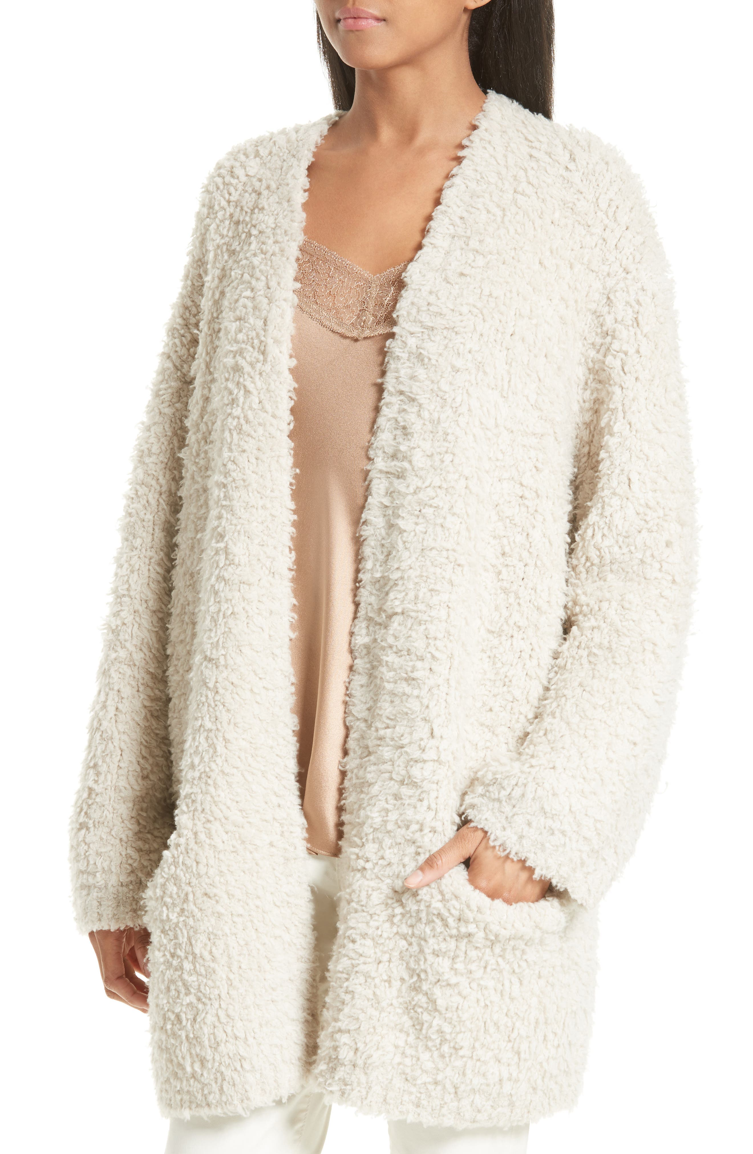 Wool Blend Teddy Cardigan,                             Alternate thumbnail 4, color,                             266