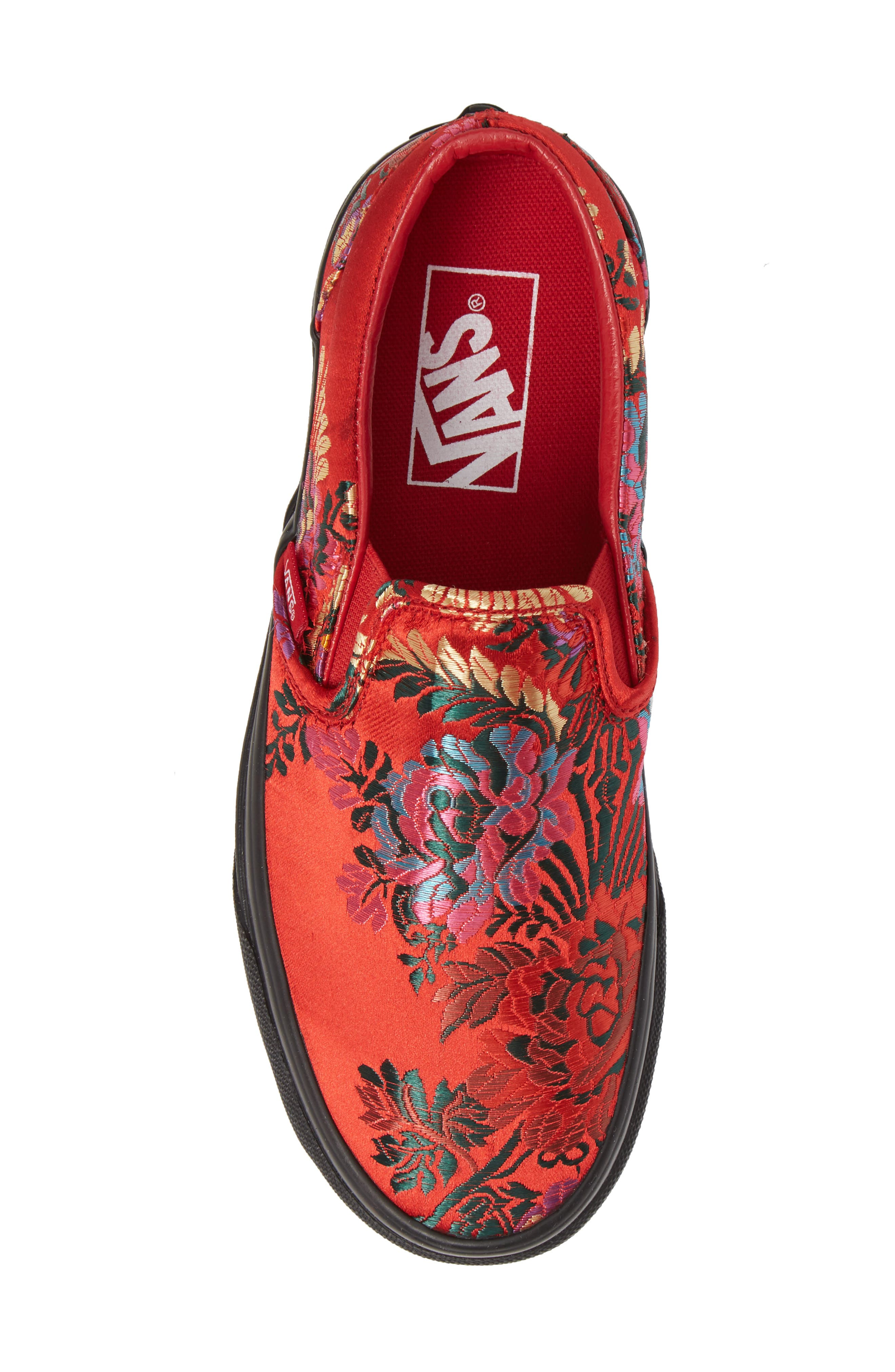 Classic Embroidered Satin Slip-On Sneaker,                             Alternate thumbnail 5, color,                             RED/ BLACK