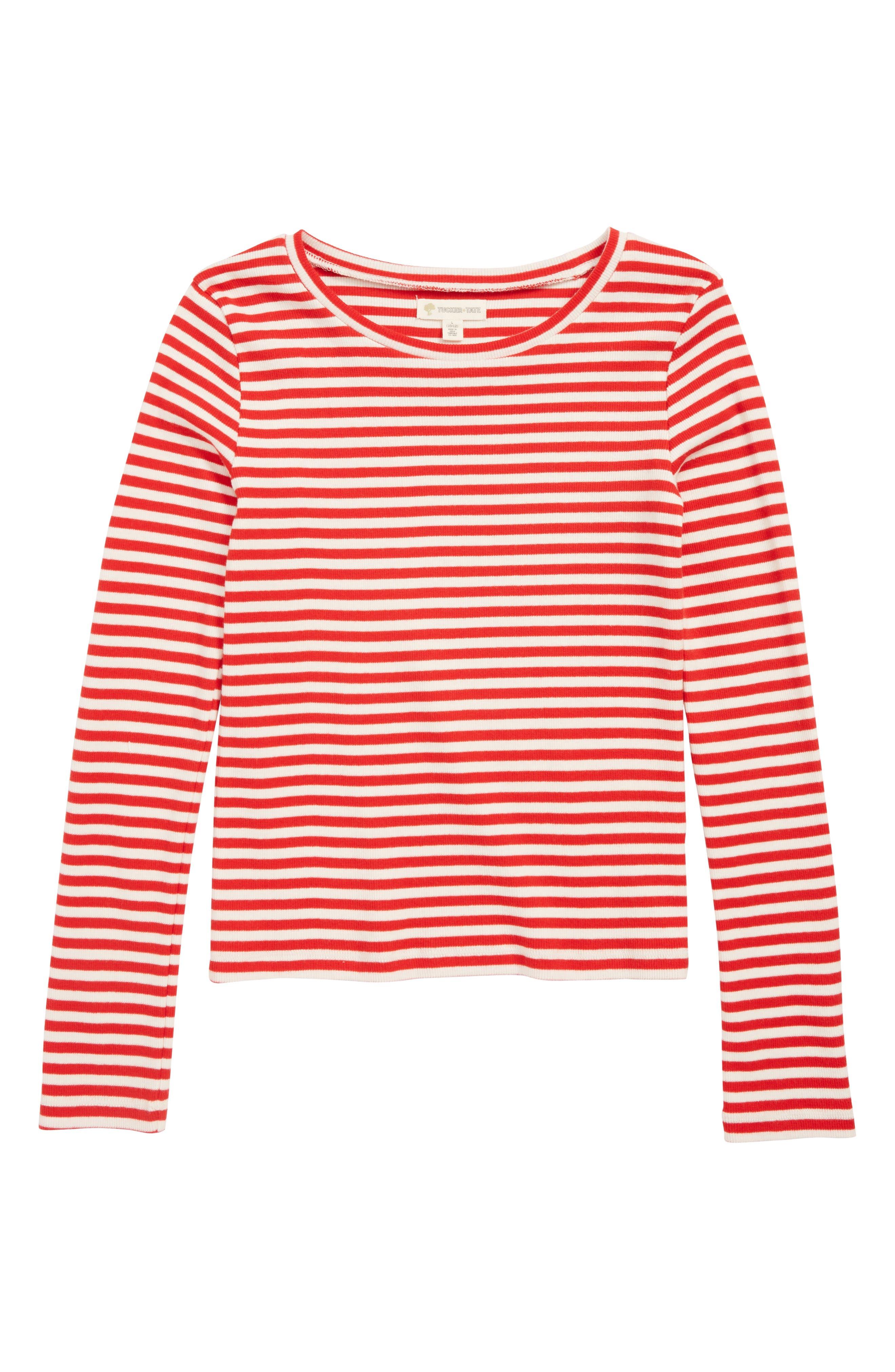 Rib Knit Top,                         Main,                         color, RED PEPPER STRIPE